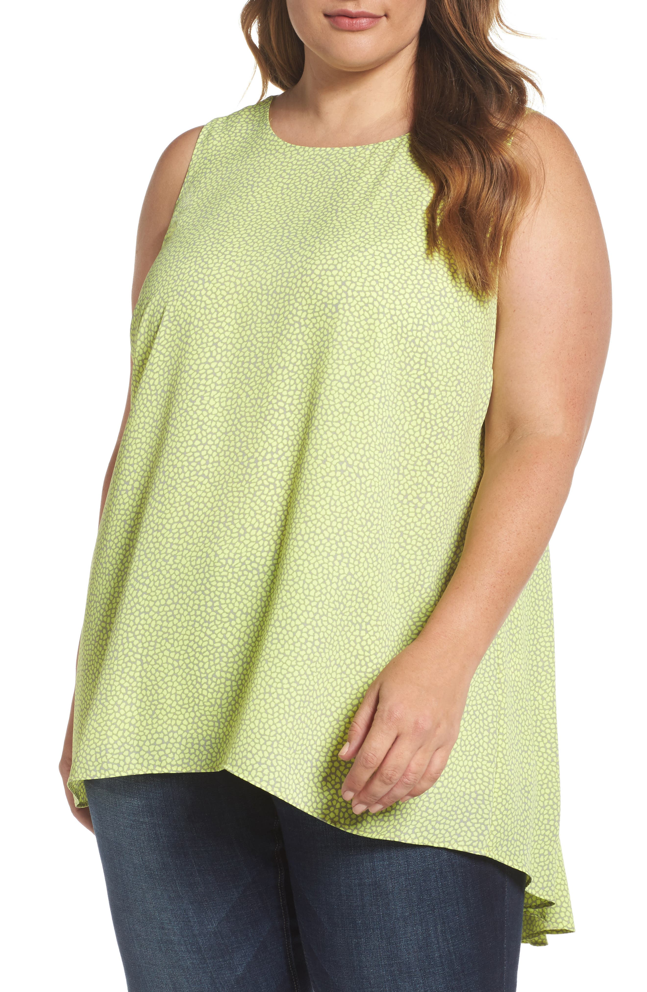 Vince Camuto Zen Pebbles High/Low Blouse (Plus Size)