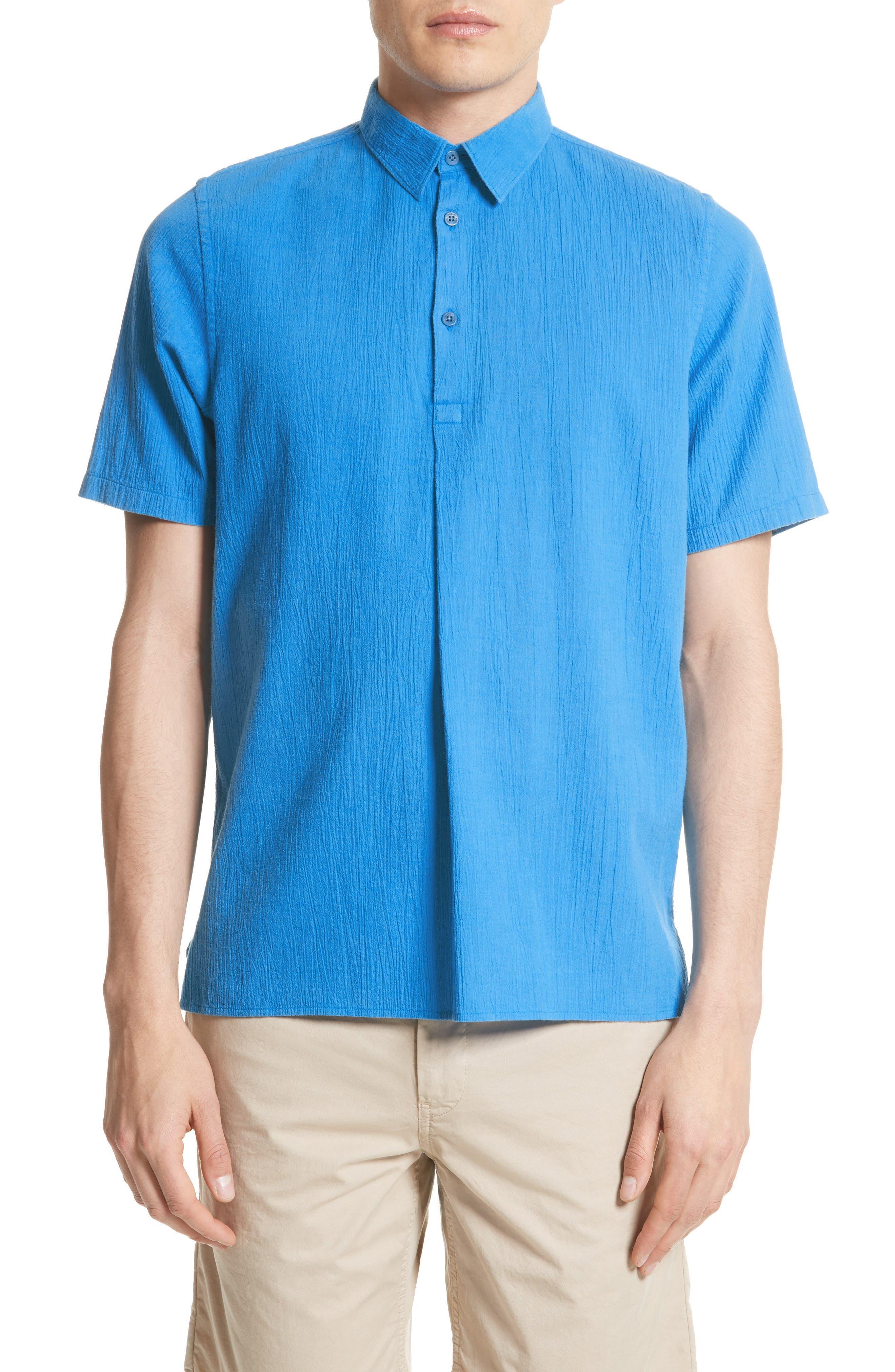 Theo Cotton & Linen Sport Shirt,                         Main,                         color, Polymer Blue