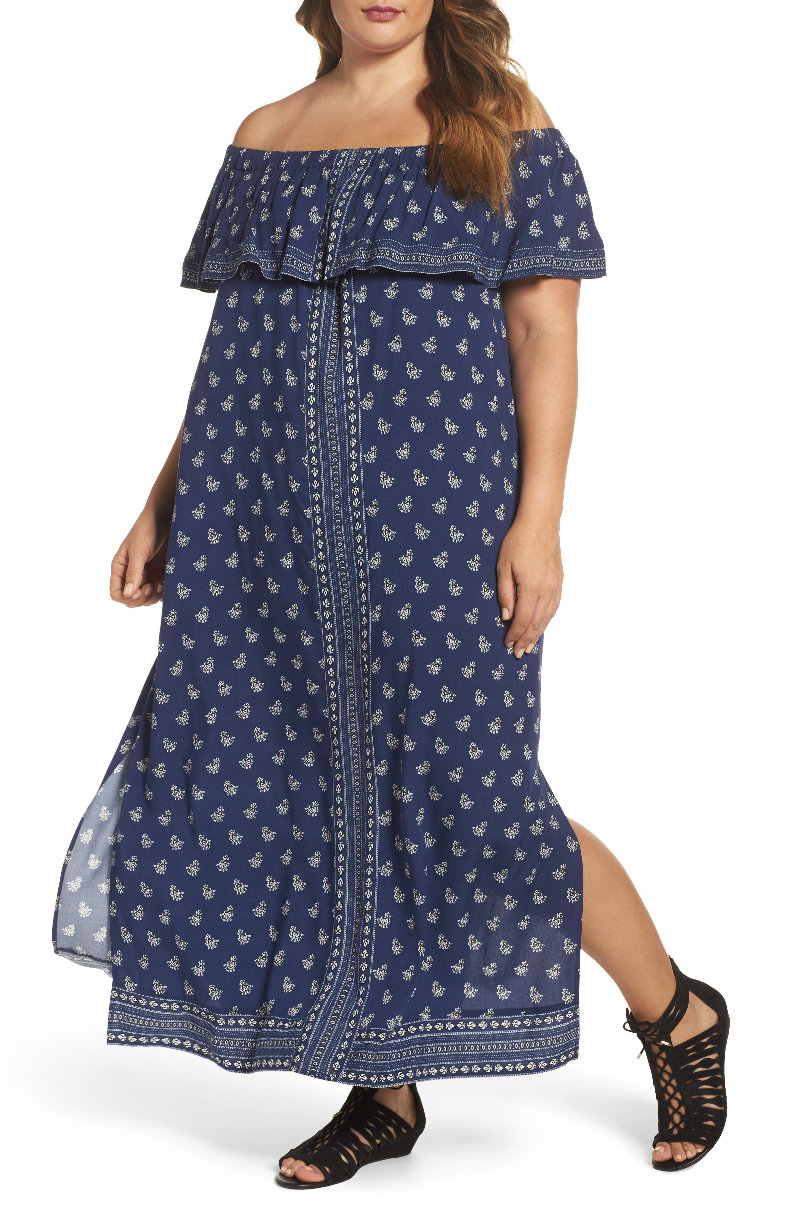 Alternate Image 1 Selected - Two by Vince Camuto Paisley Off the Shoulder Maxi Dress (Plus Size)
