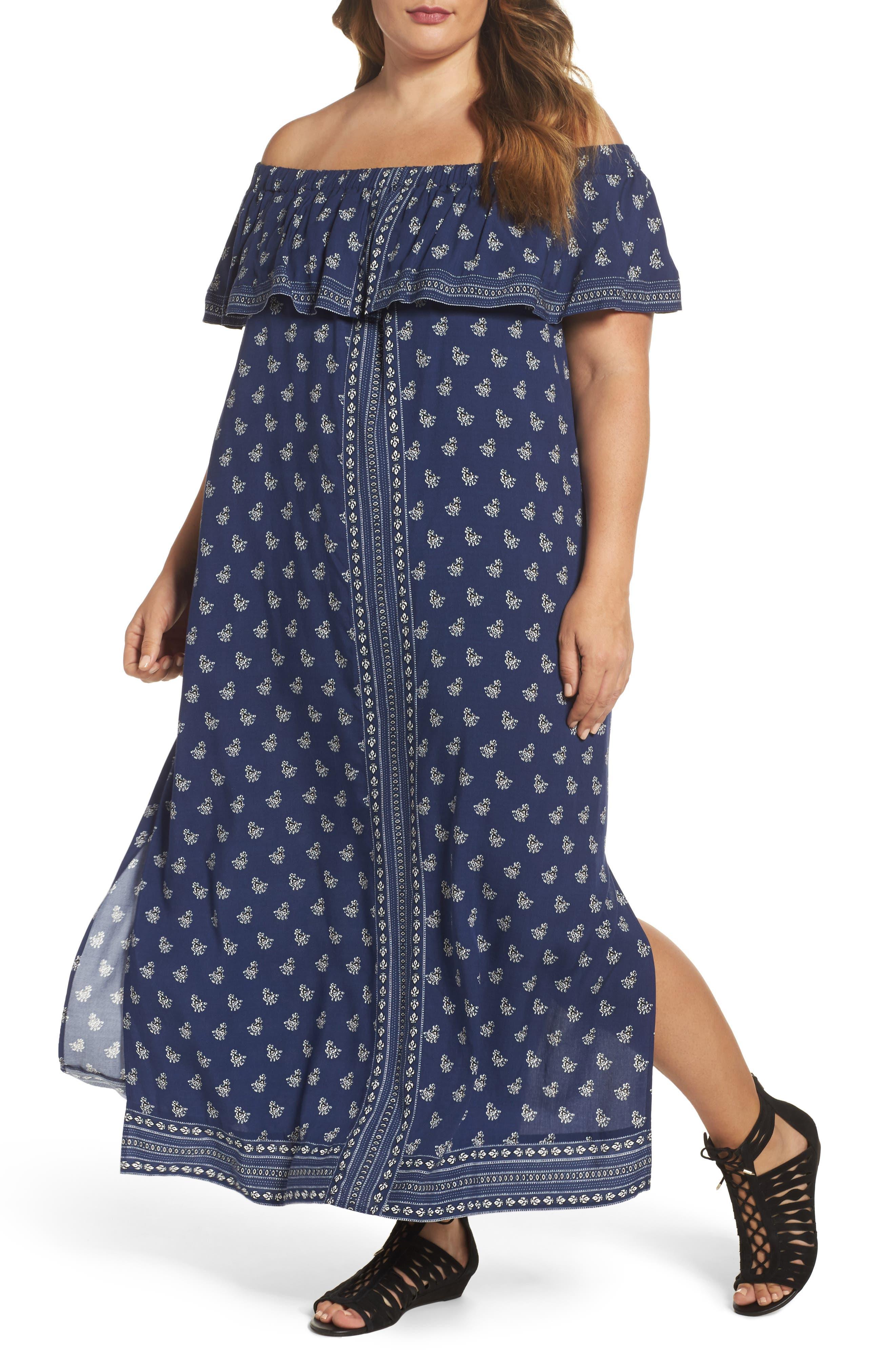 Paisley Off the Shoulder Maxi Dress,                         Main,                         color, Indigo Tile