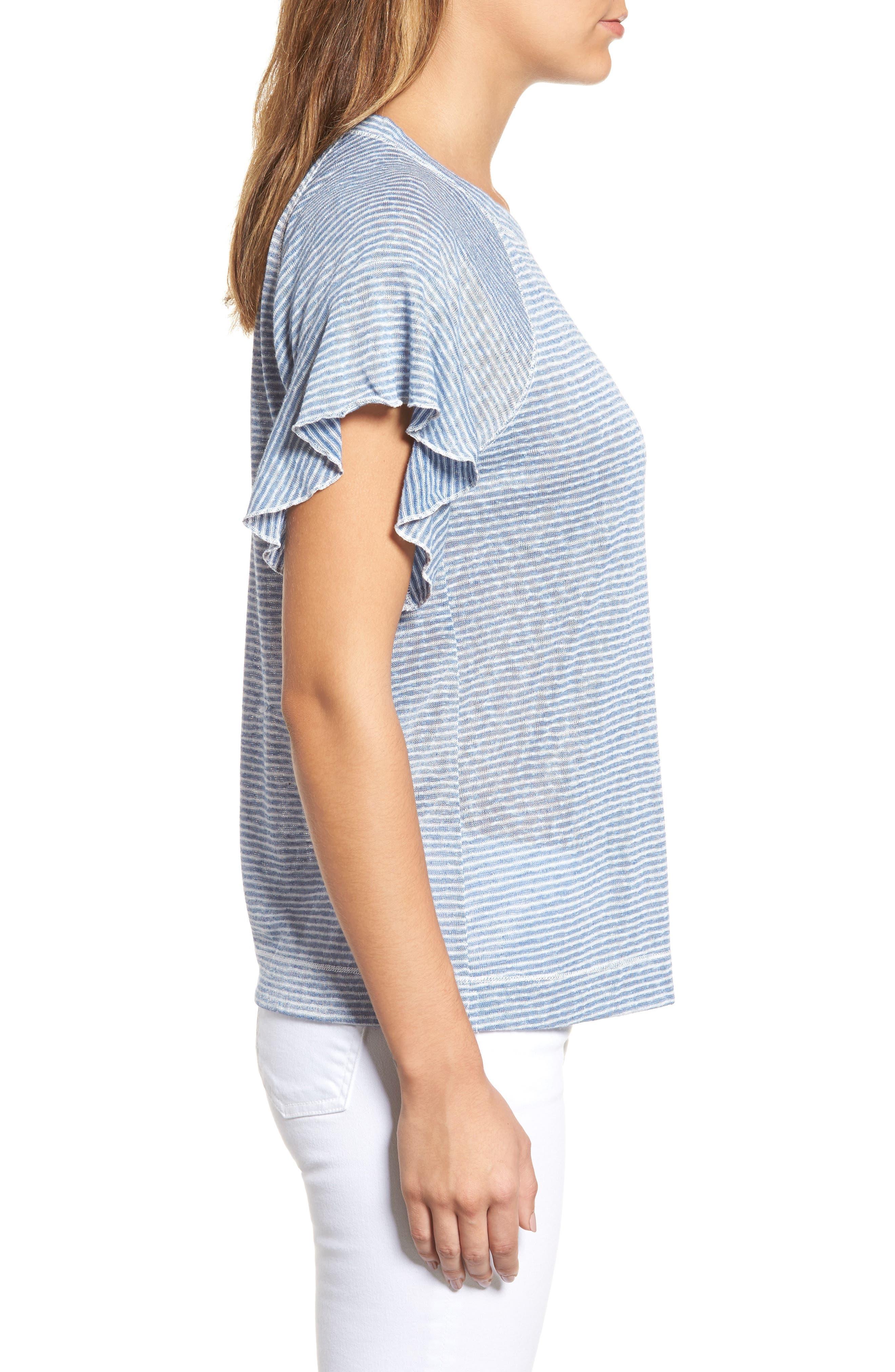 Stripe Knit Flutter Sleeve Top,                             Alternate thumbnail 3, color,                             Off White/ Blue