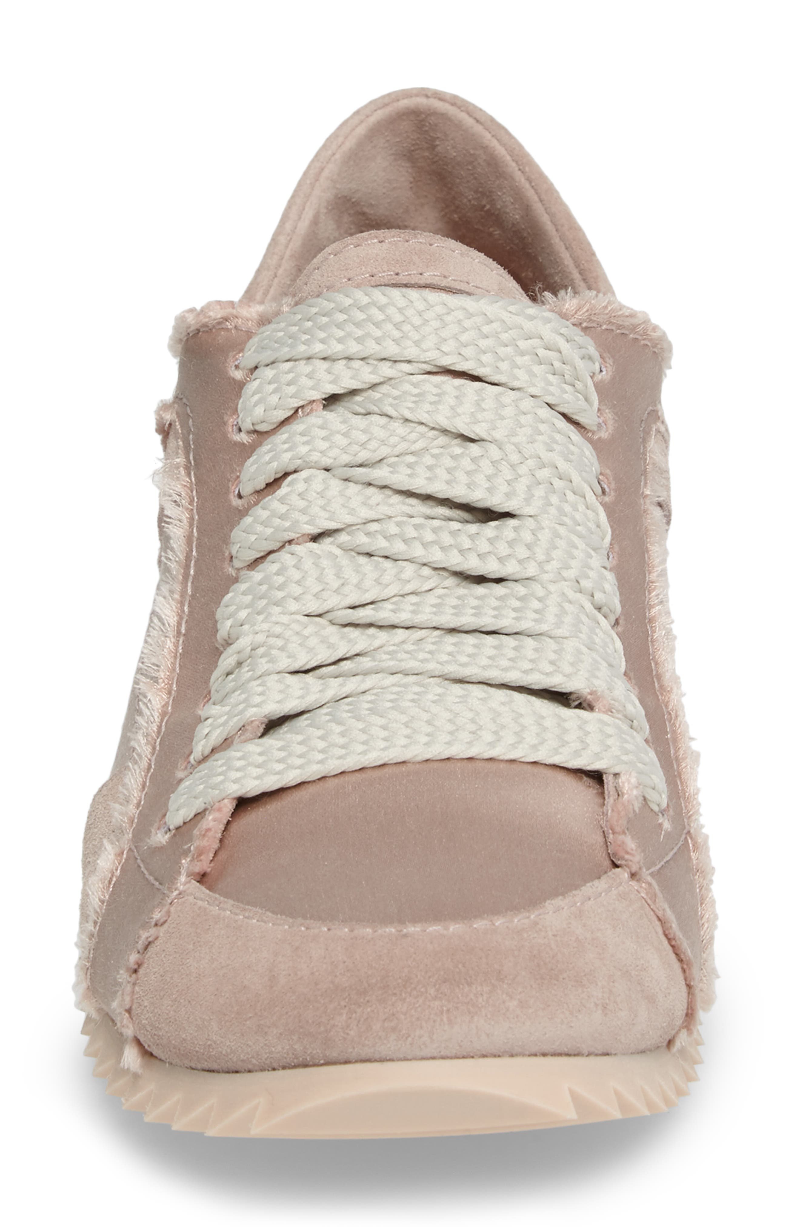Cristina Trainer Sneaker,                             Alternate thumbnail 4, color,                             Light Pink Satin