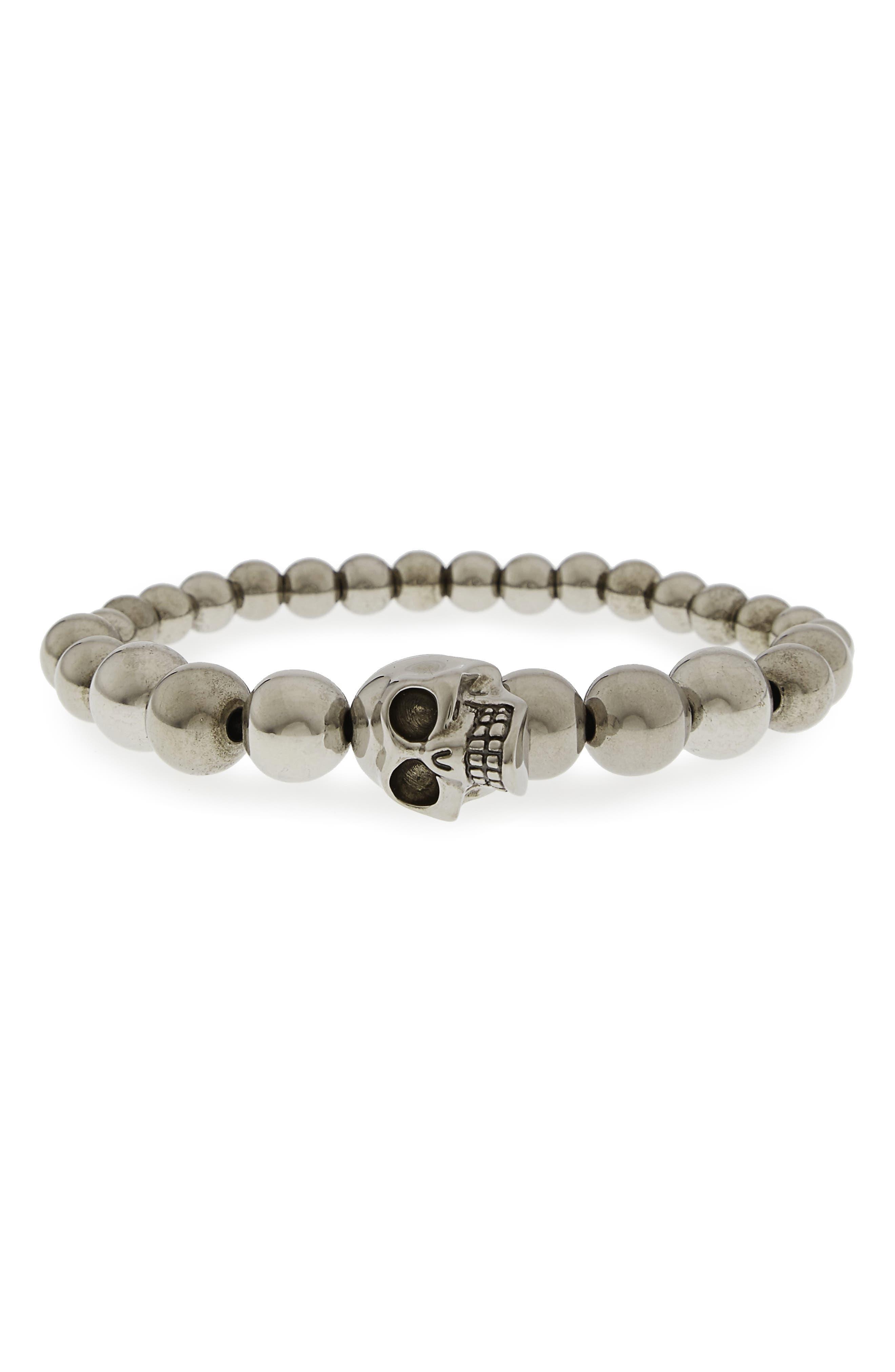 Skull Ball Bracelet,                         Main,                         color, Silver