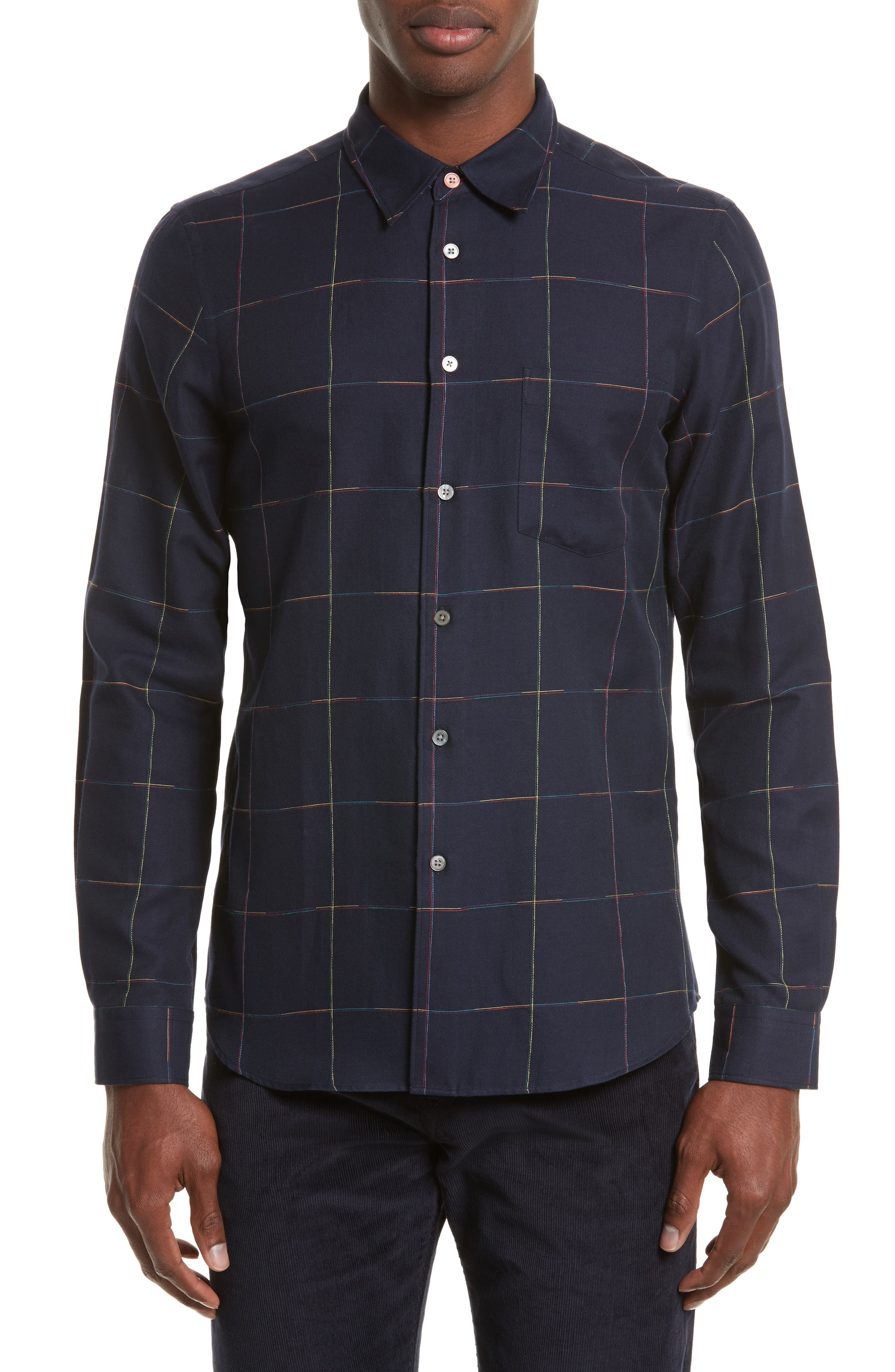PS Paul Smith Rainbow Embroidered Windowpane Sport Shirt