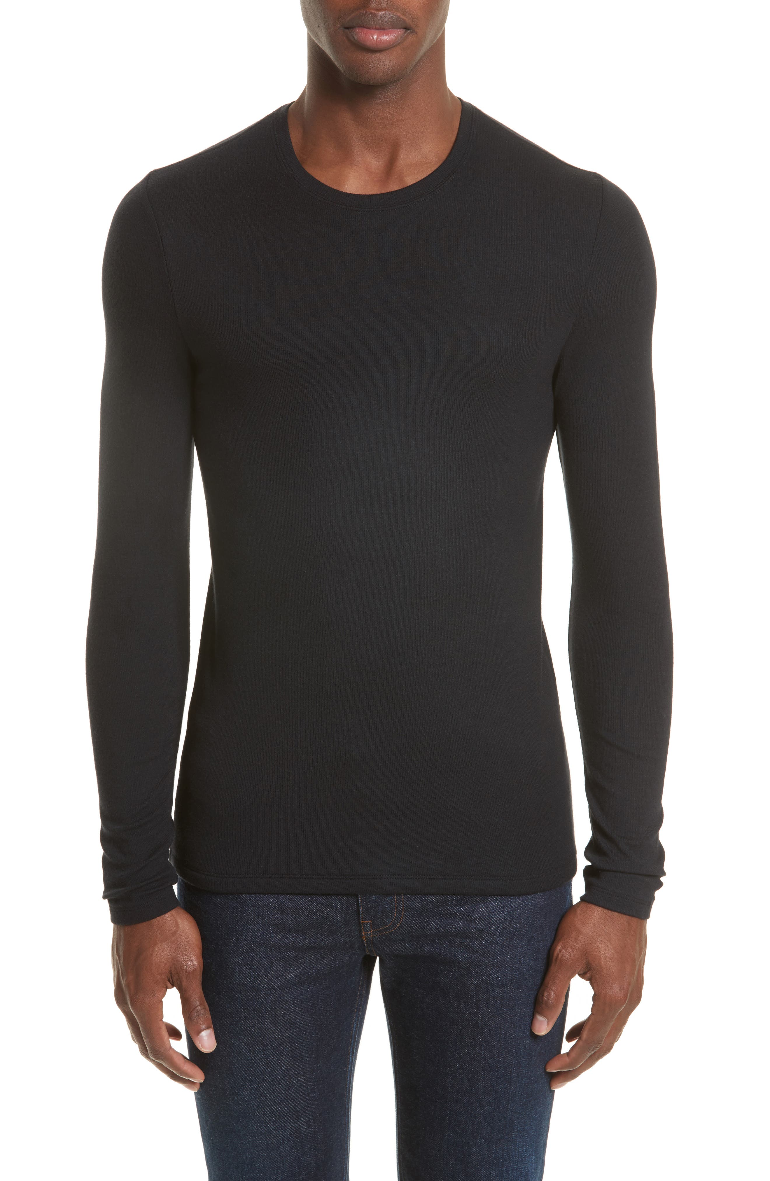 Ribbed T-Shirt,                         Main,                         color, Black