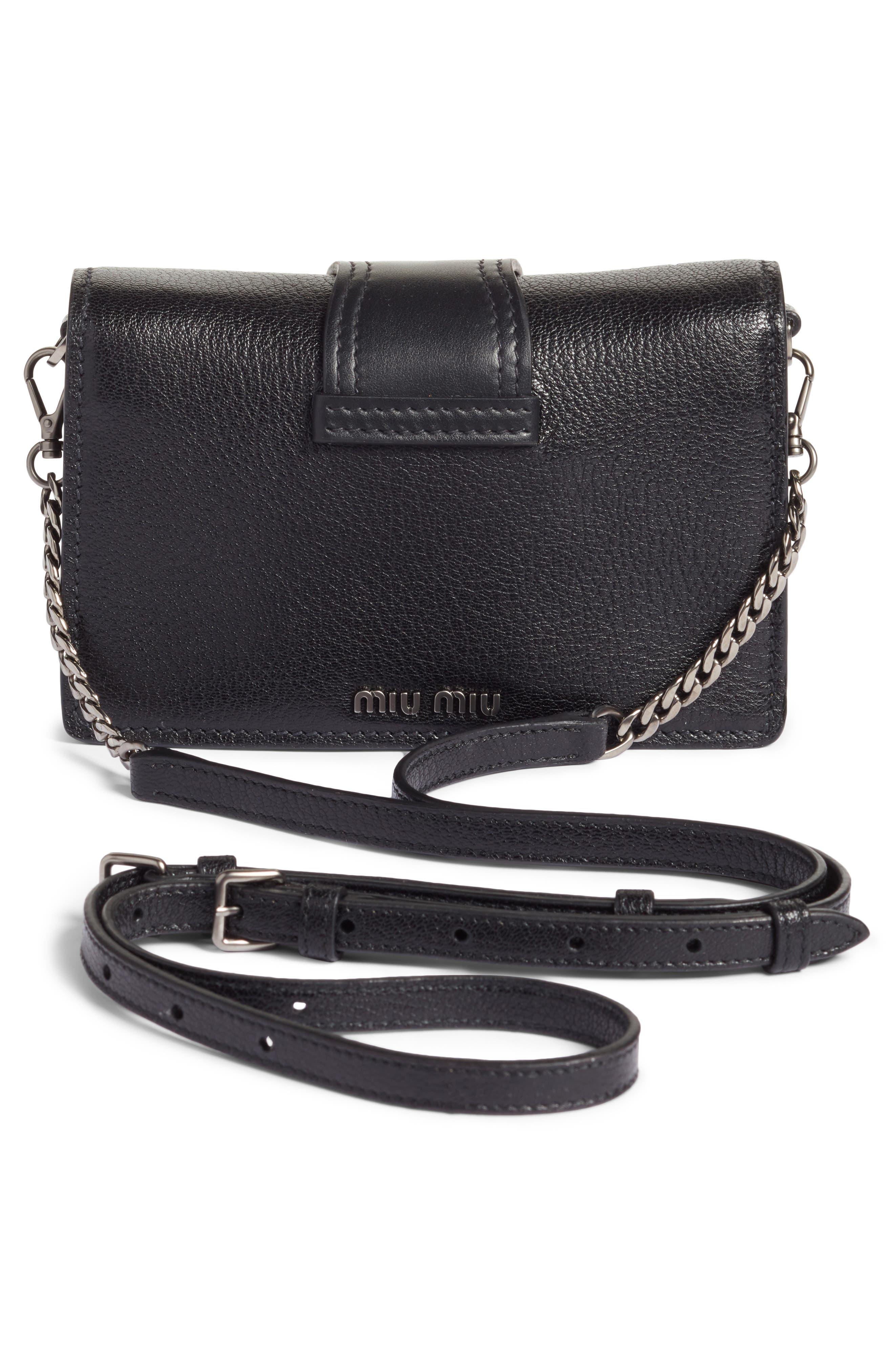 Lady Madras Crystal Embellished Leather Crossbody Bag,                             Alternate thumbnail 3, color,                             Nero 1