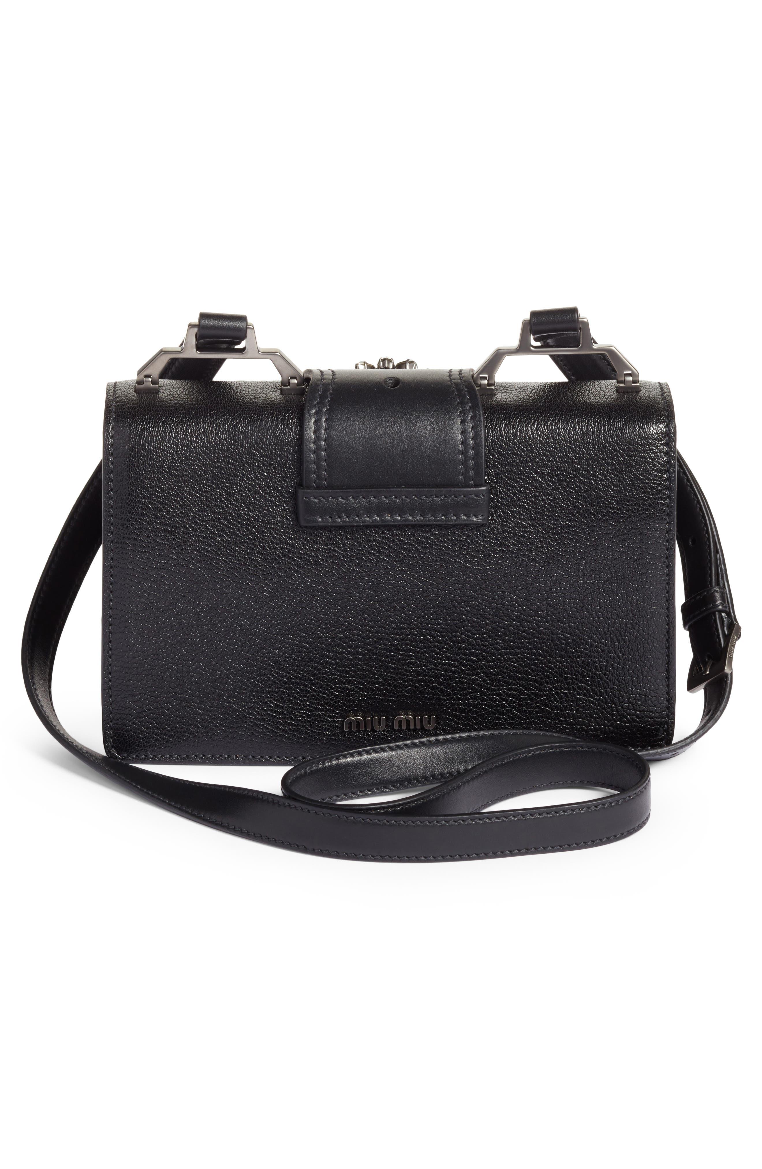 Madras Crystal Embellished Leather Shoulder Bag,                             Alternate thumbnail 3, color,                             Black