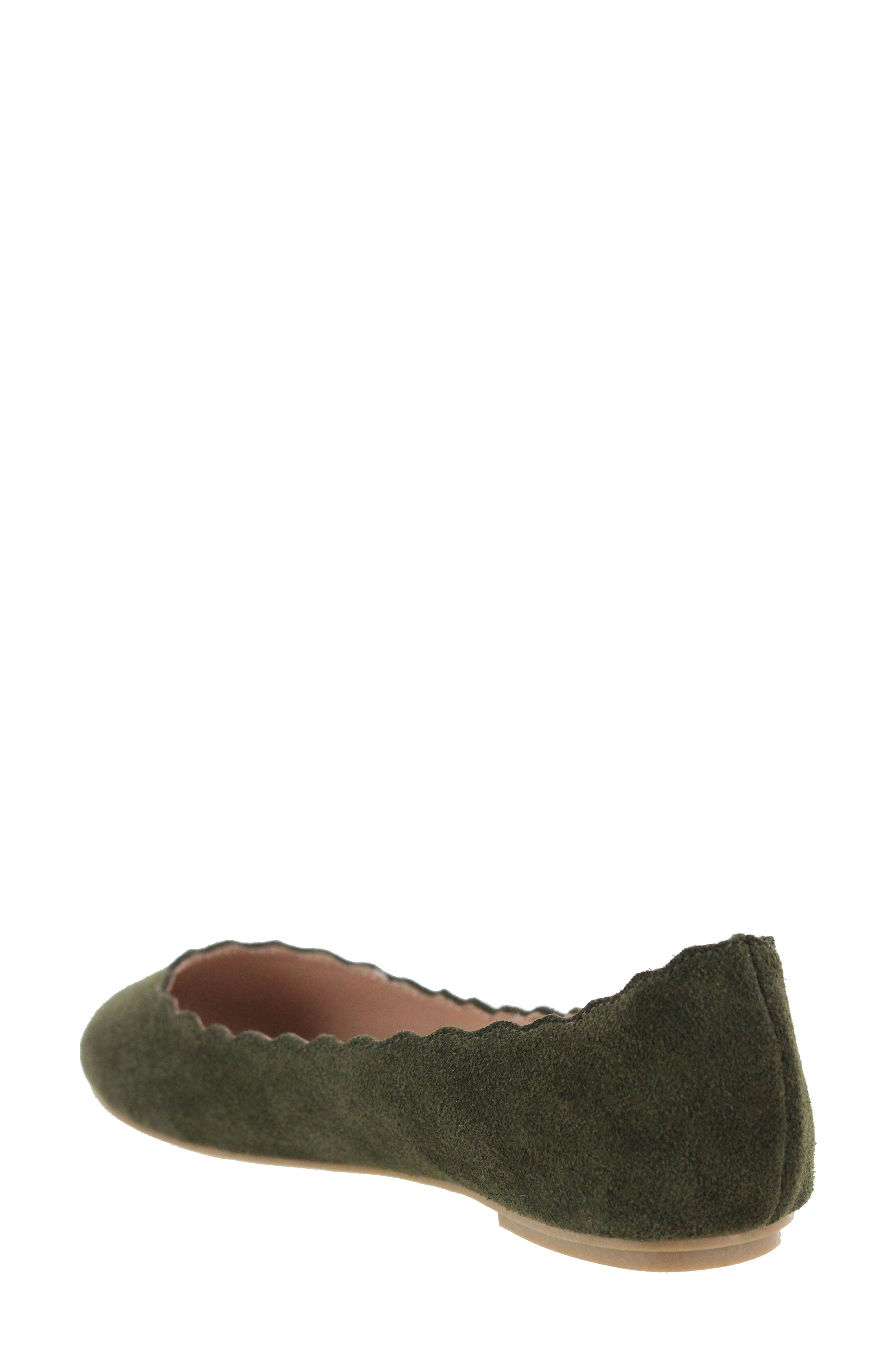 Gianna Scalloped Flat,                             Alternate thumbnail 2, color,                             Olive