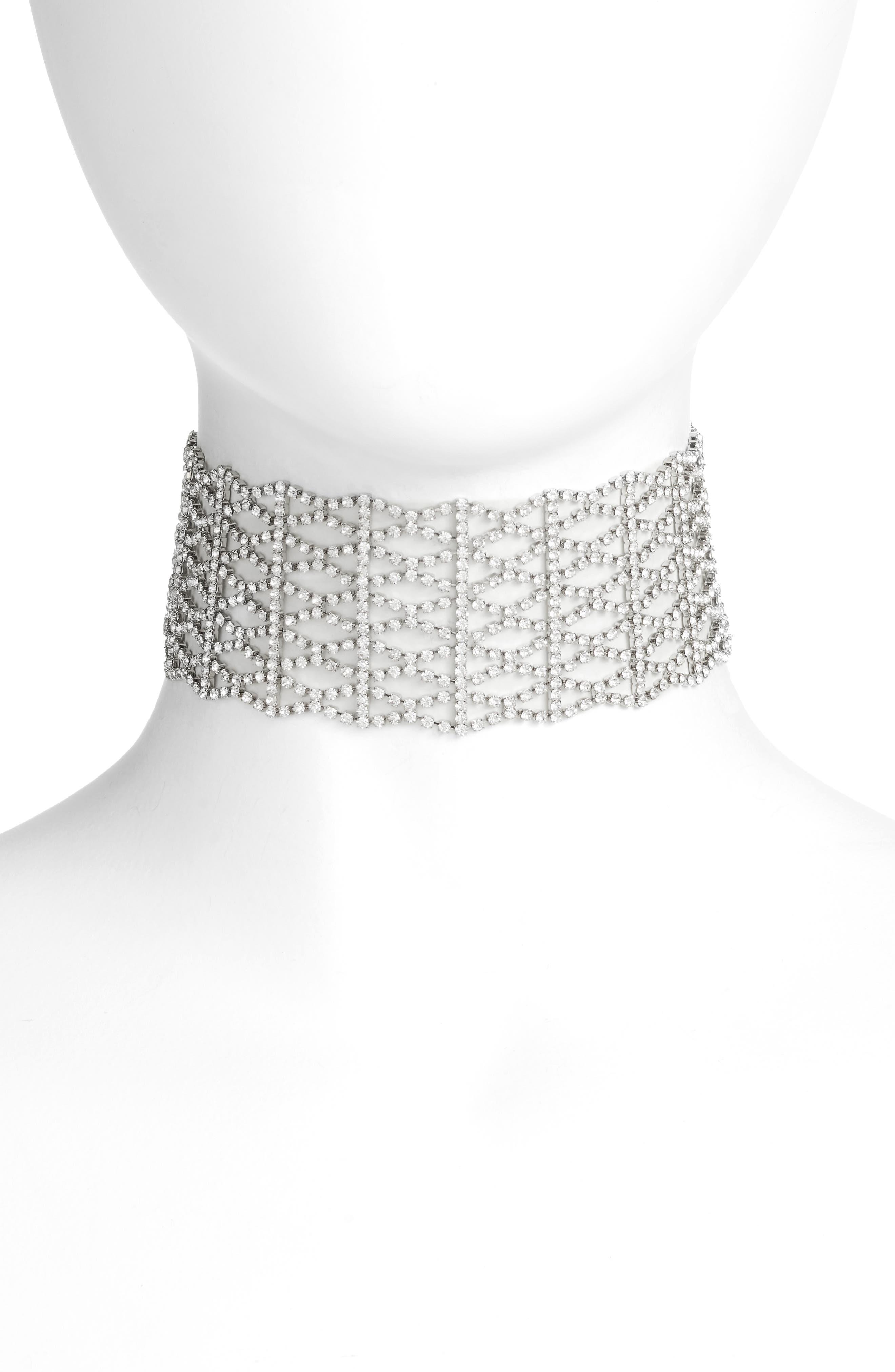 Crystal Lattice Choker,                         Main,                         color, Clear / Silver