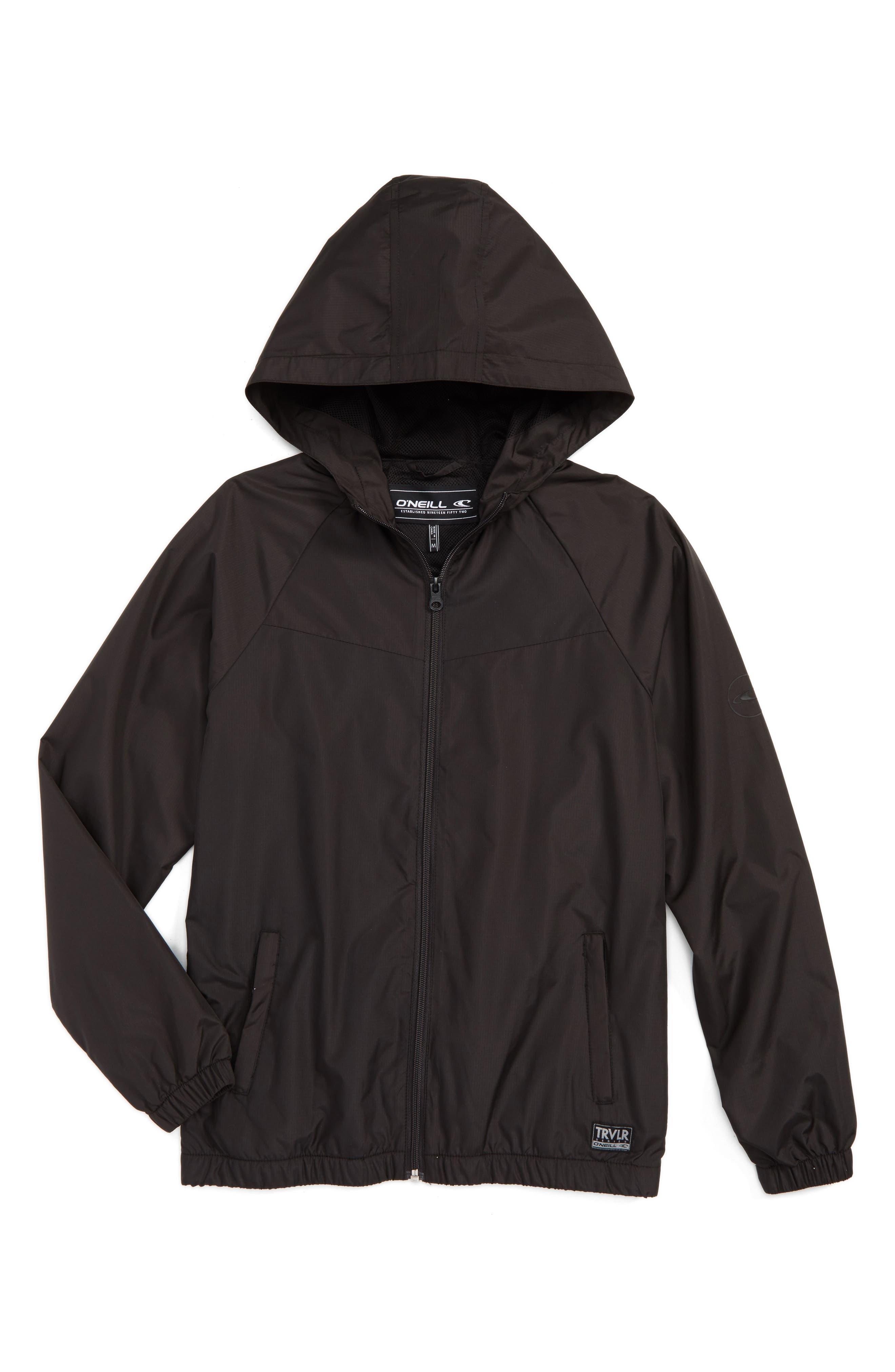 Traveler Packable Windbreaker Jacket,                         Main,                         color, Black
