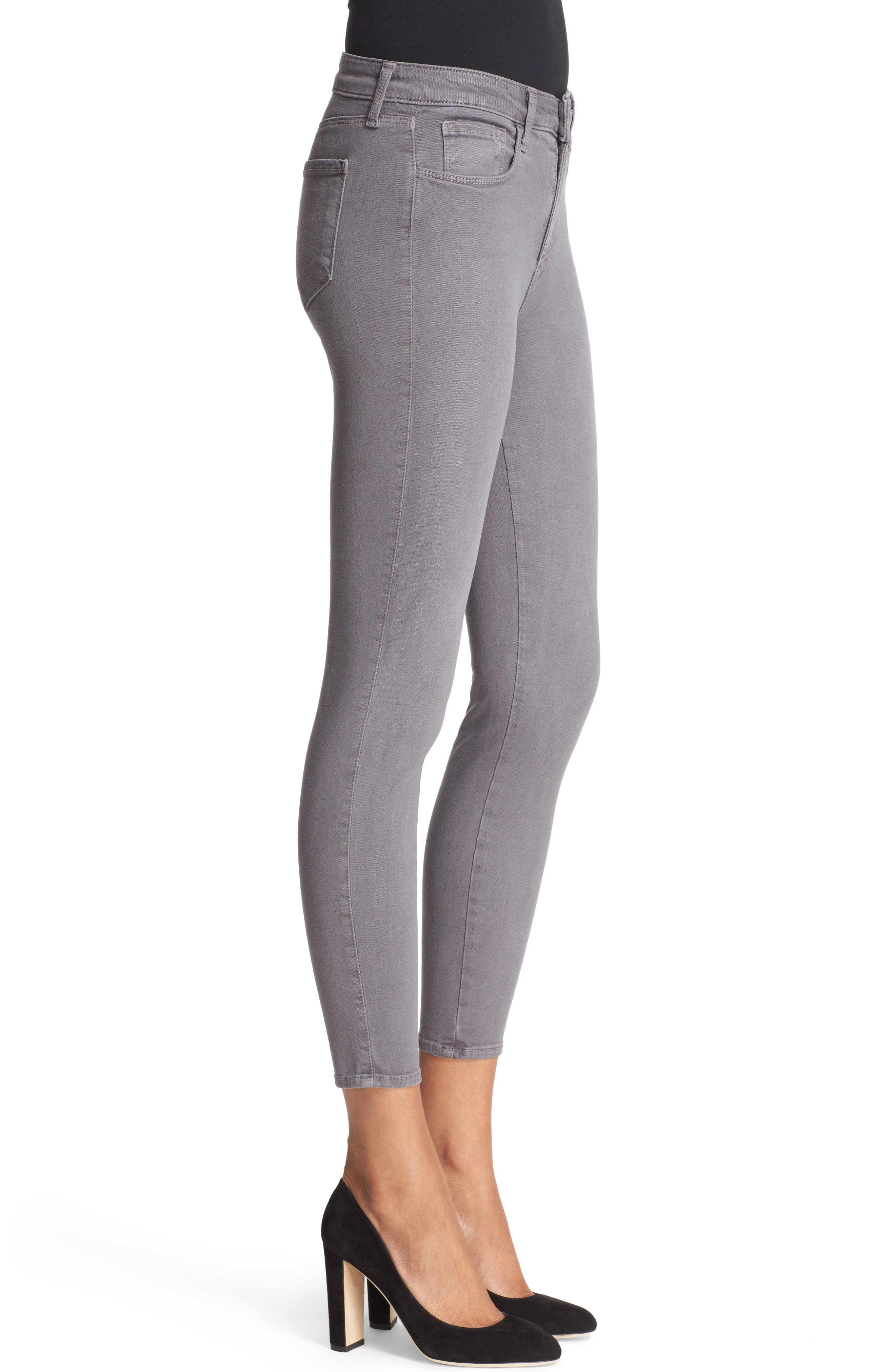 High Waist Skinny Ankle Jeans,                             Alternate thumbnail 3, color,                             Gris