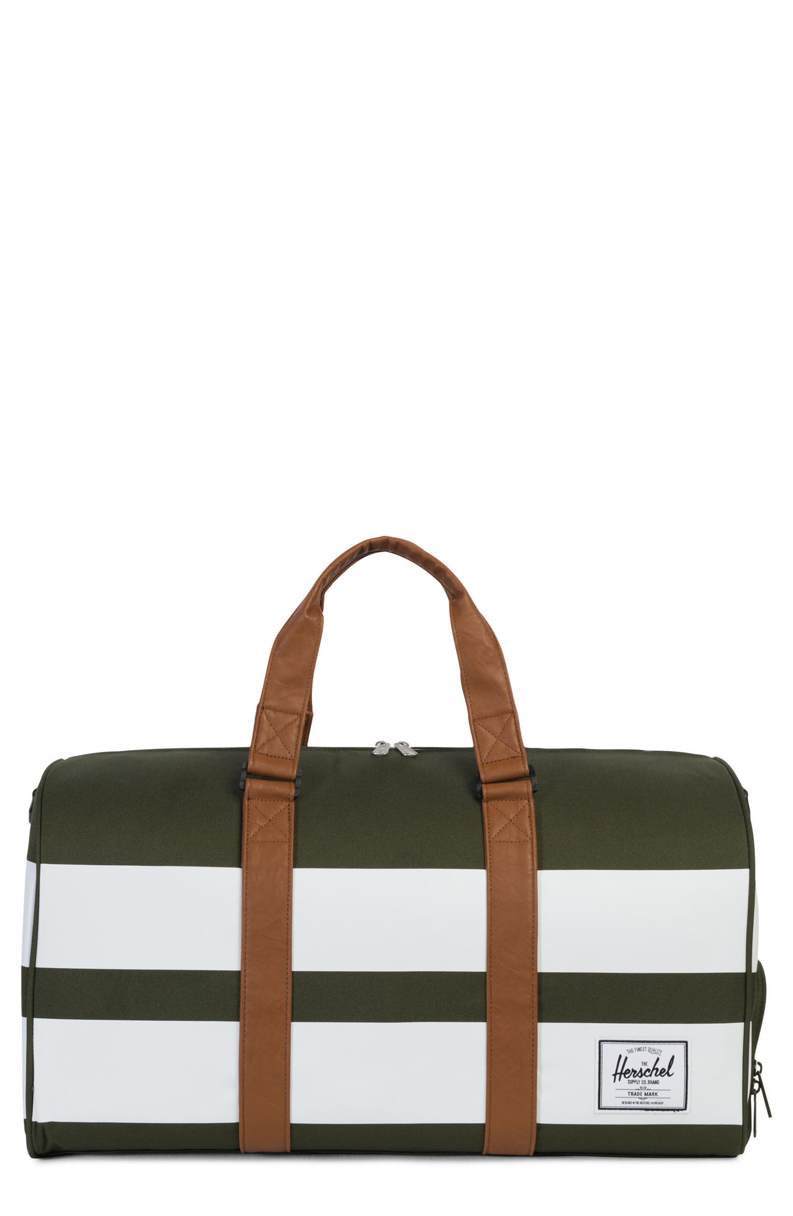 Novel Rugby Stripe Duffel,                         Main,                         color, Forest Night Rugby Strip