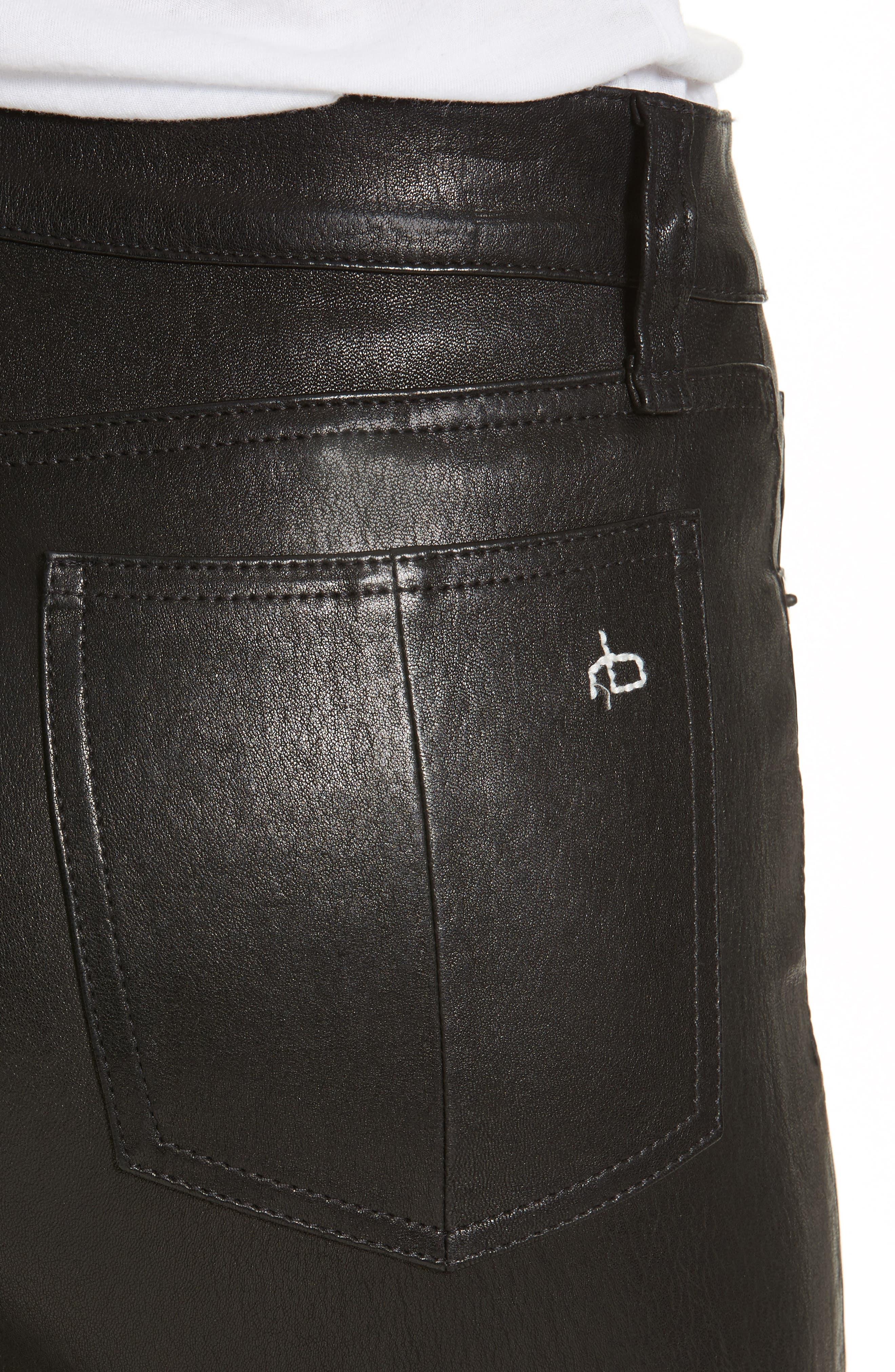 Alternate Image 4  - rag & bone/JEAN Hana Crop Flare Leather Pants