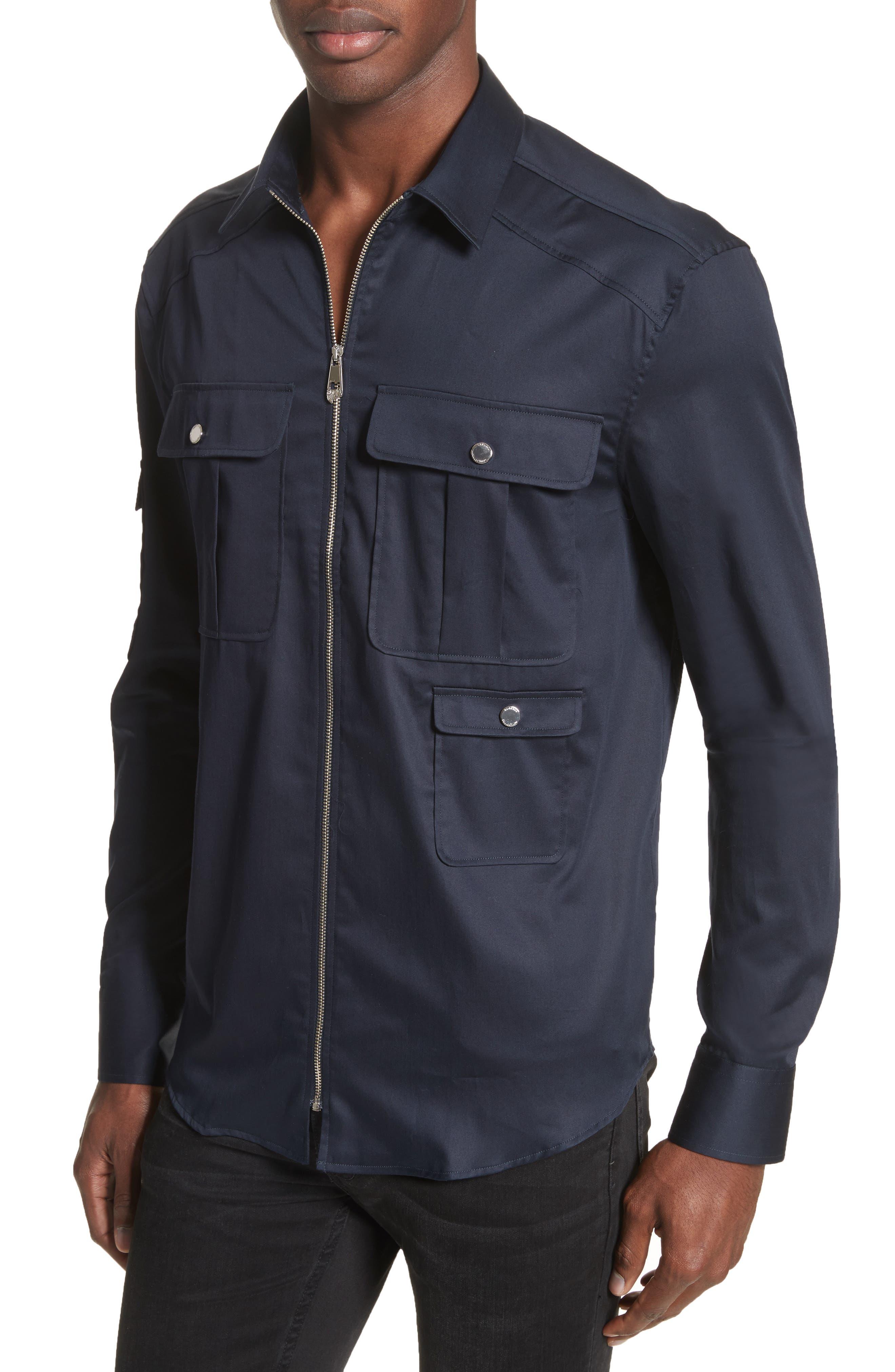 Zip Front Stretch Cotton Shirt,                             Alternate thumbnail 4, color,                             Navy