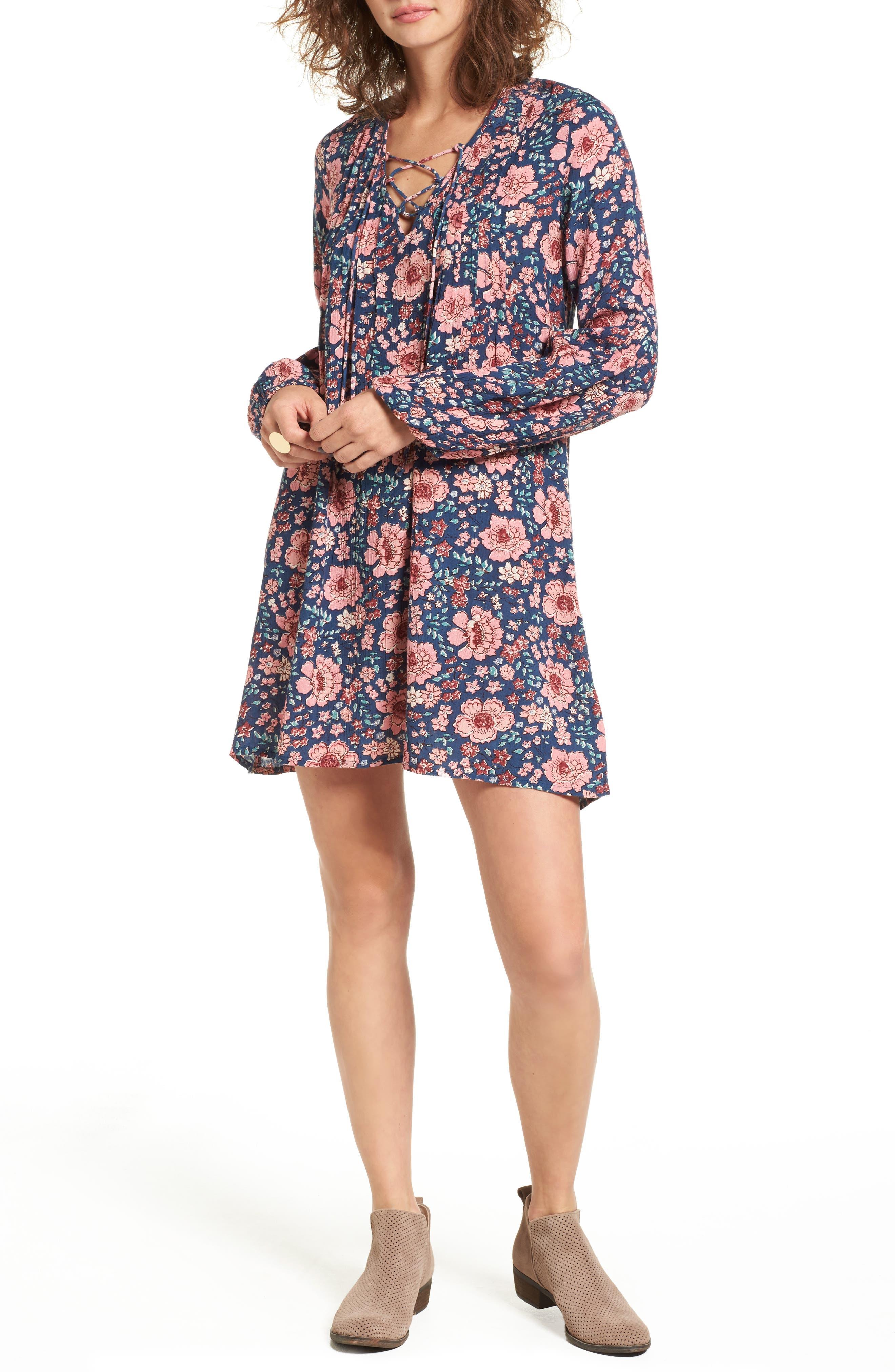 BILLABONG Just Like Us Lace-Up Shift Dress