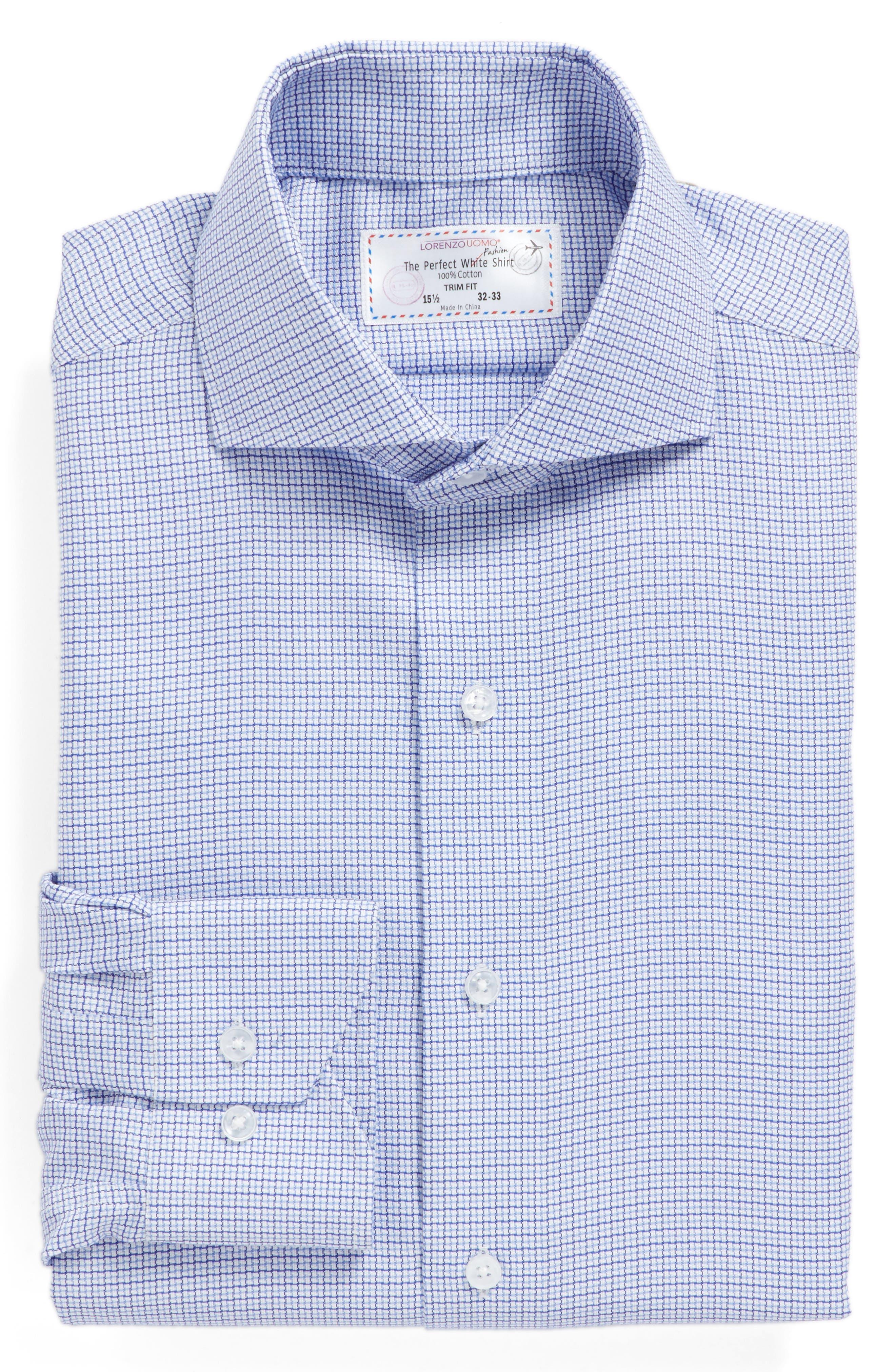 Trim Fit Check Dress Shirt,                             Alternate thumbnail 4, color,                             Light Blue/ Navy