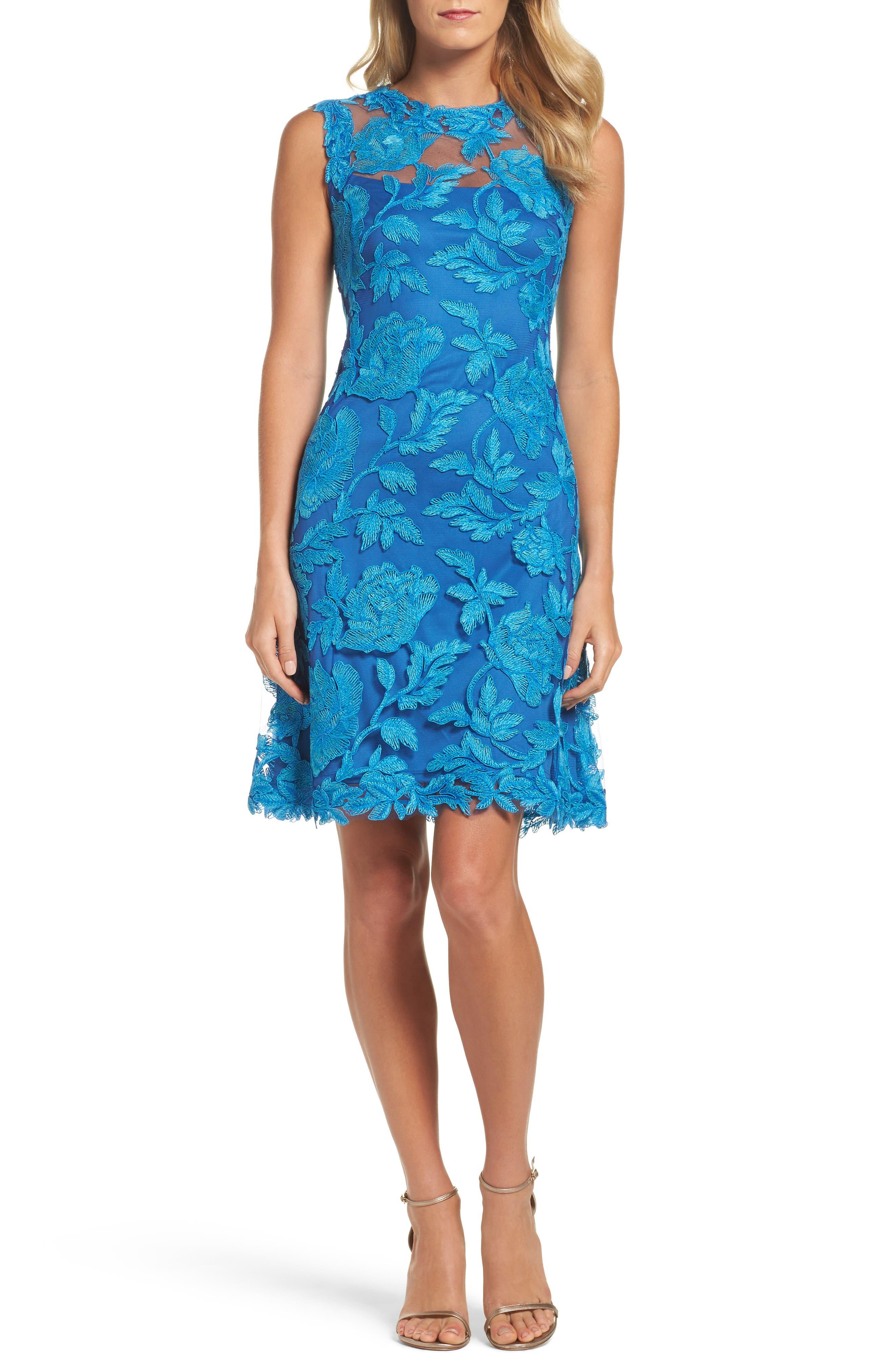 Noelle Floral Fit & Flare Dress,                             Main thumbnail 1, color,                             Blue Topaz