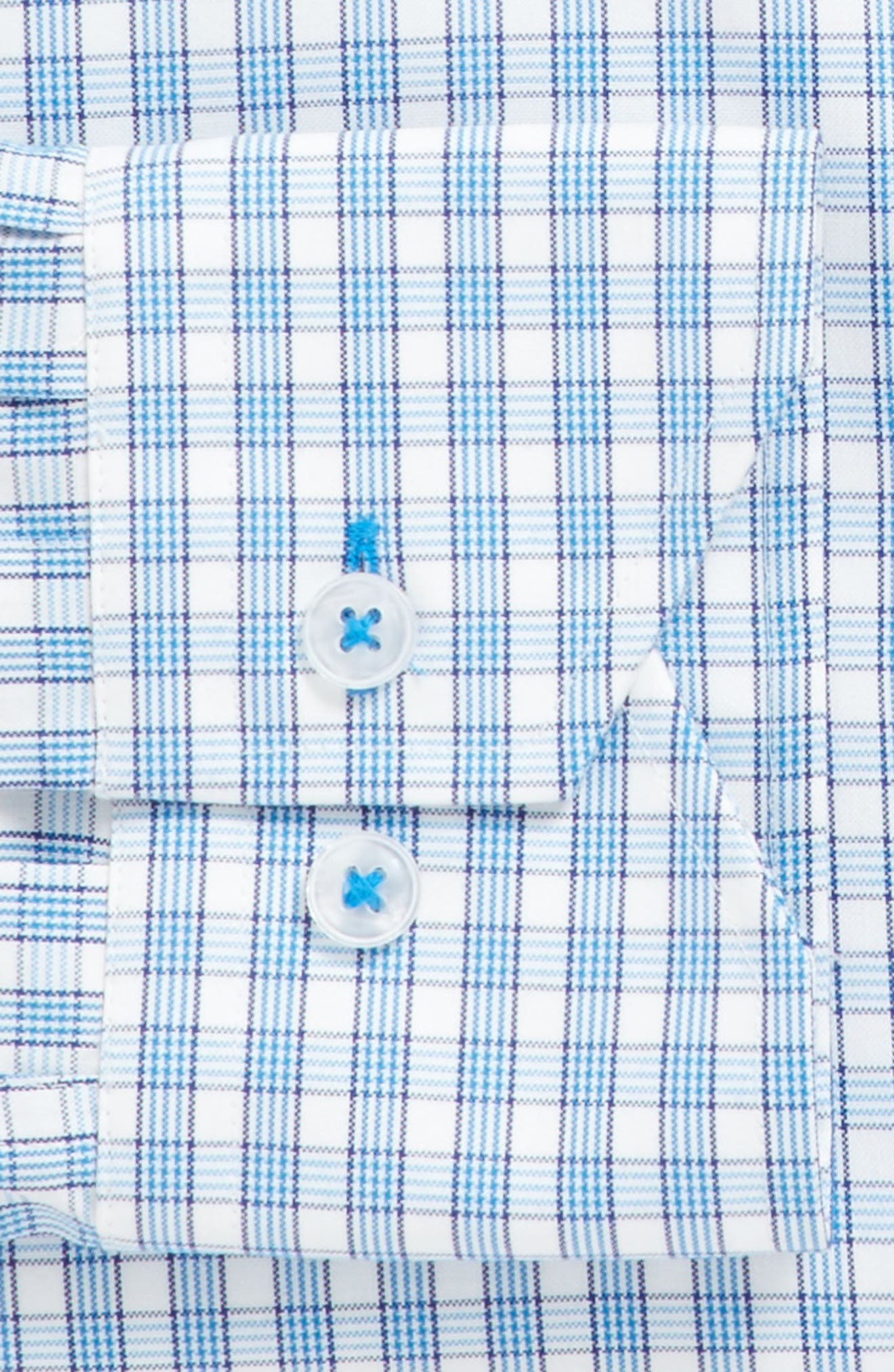 Trim Fit Plaid Dress Shirt,                             Alternate thumbnail 3, color,                             Light Blue/ White