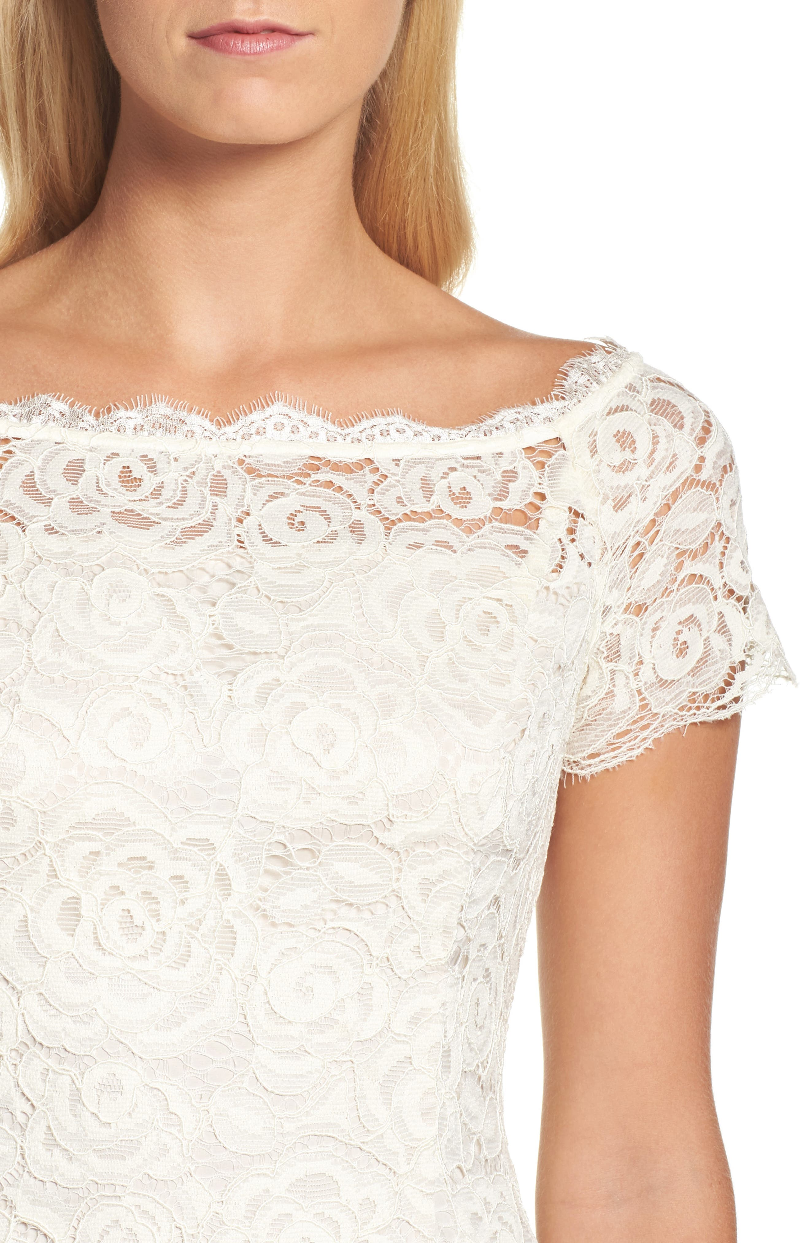 Alternate Image 4  - Adrianna PapellOff the Shoulder Lace Sheath Dress (Regular & Petite)