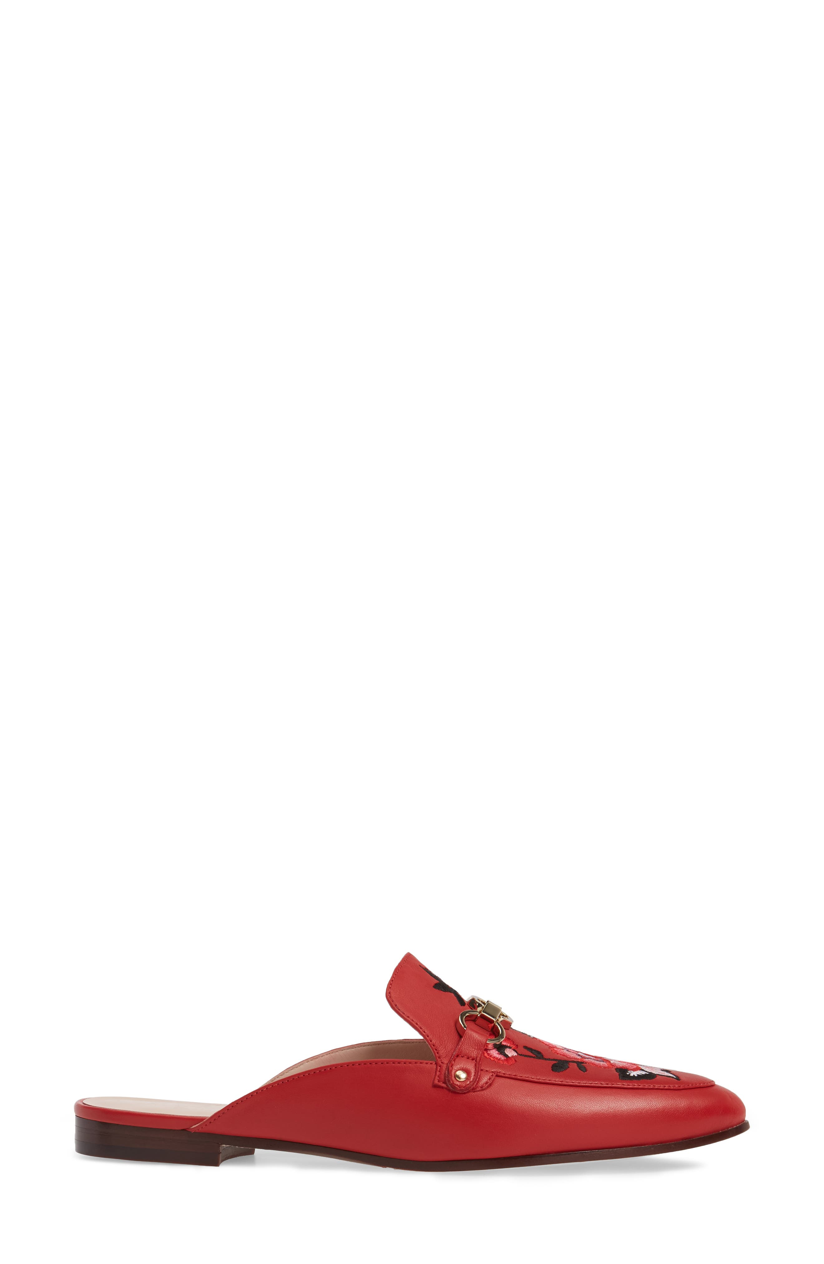 canyon embroidered loafer mule,                             Alternate thumbnail 3, color,                             Maraschino Red Nappa