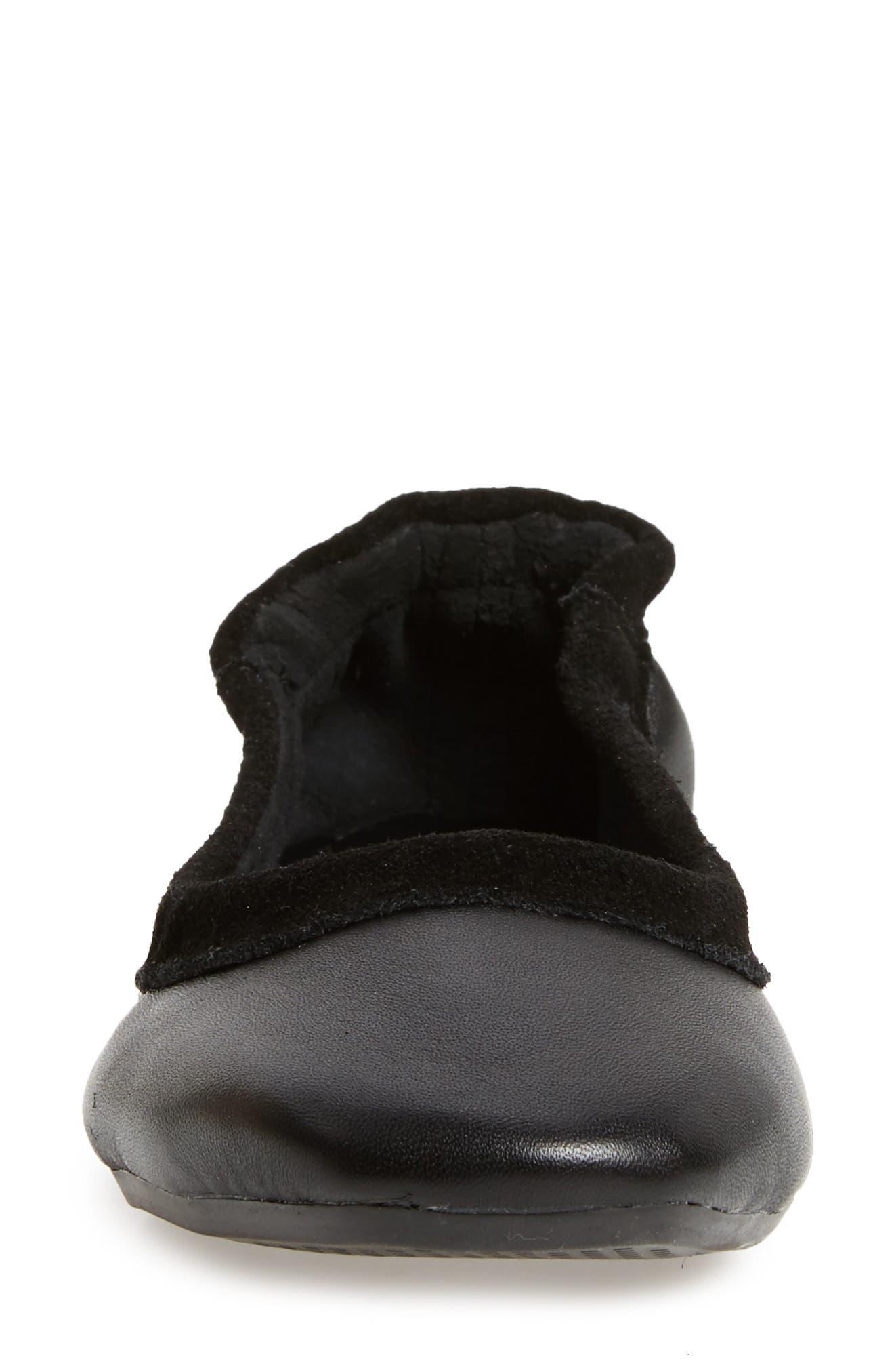 M4D3 Cozy Ballet Flat,                             Alternate thumbnail 4, color,                             Black Leather
