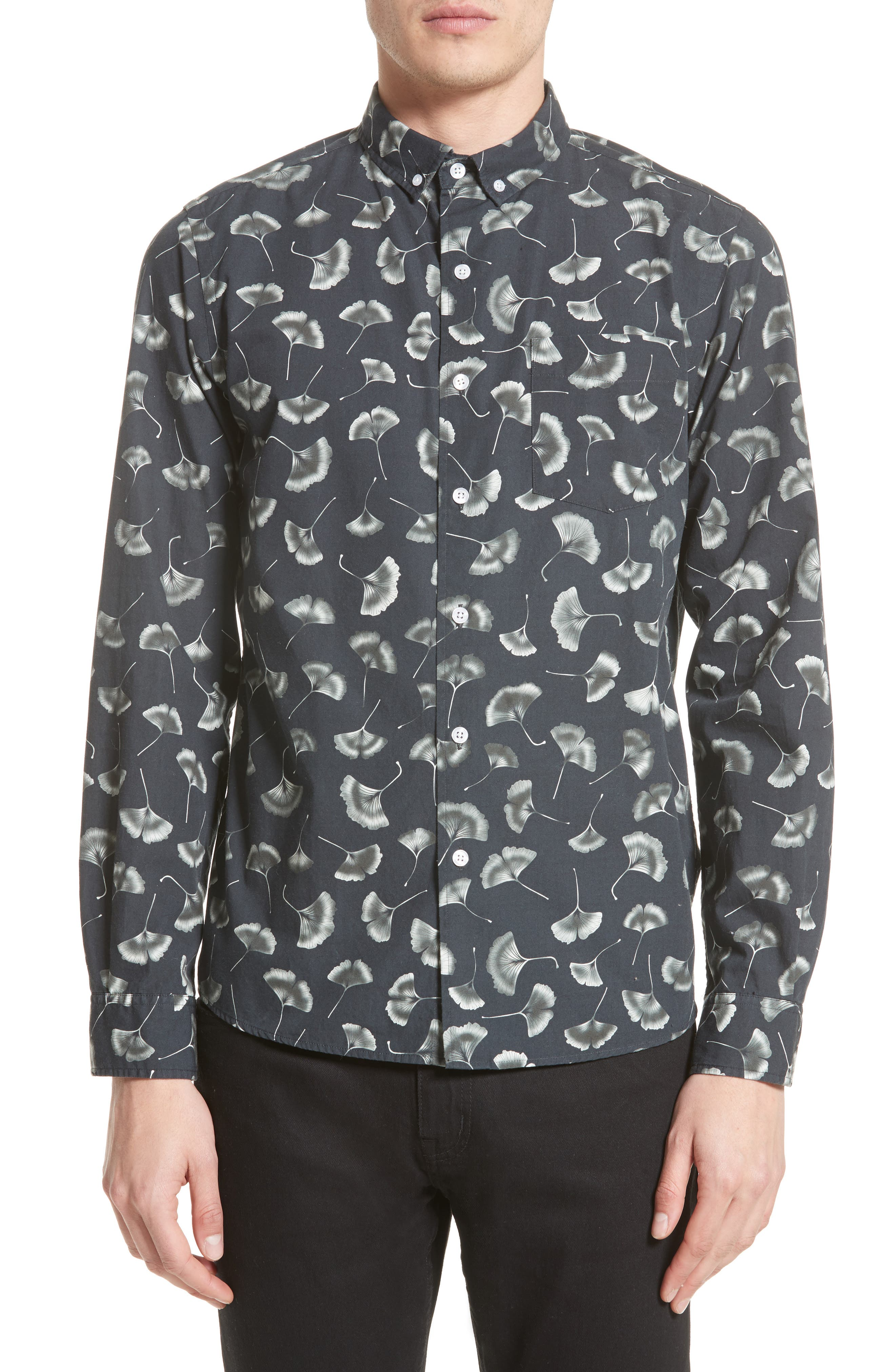 Saturdays NYC Crosby Gingko Print Sport Shirt