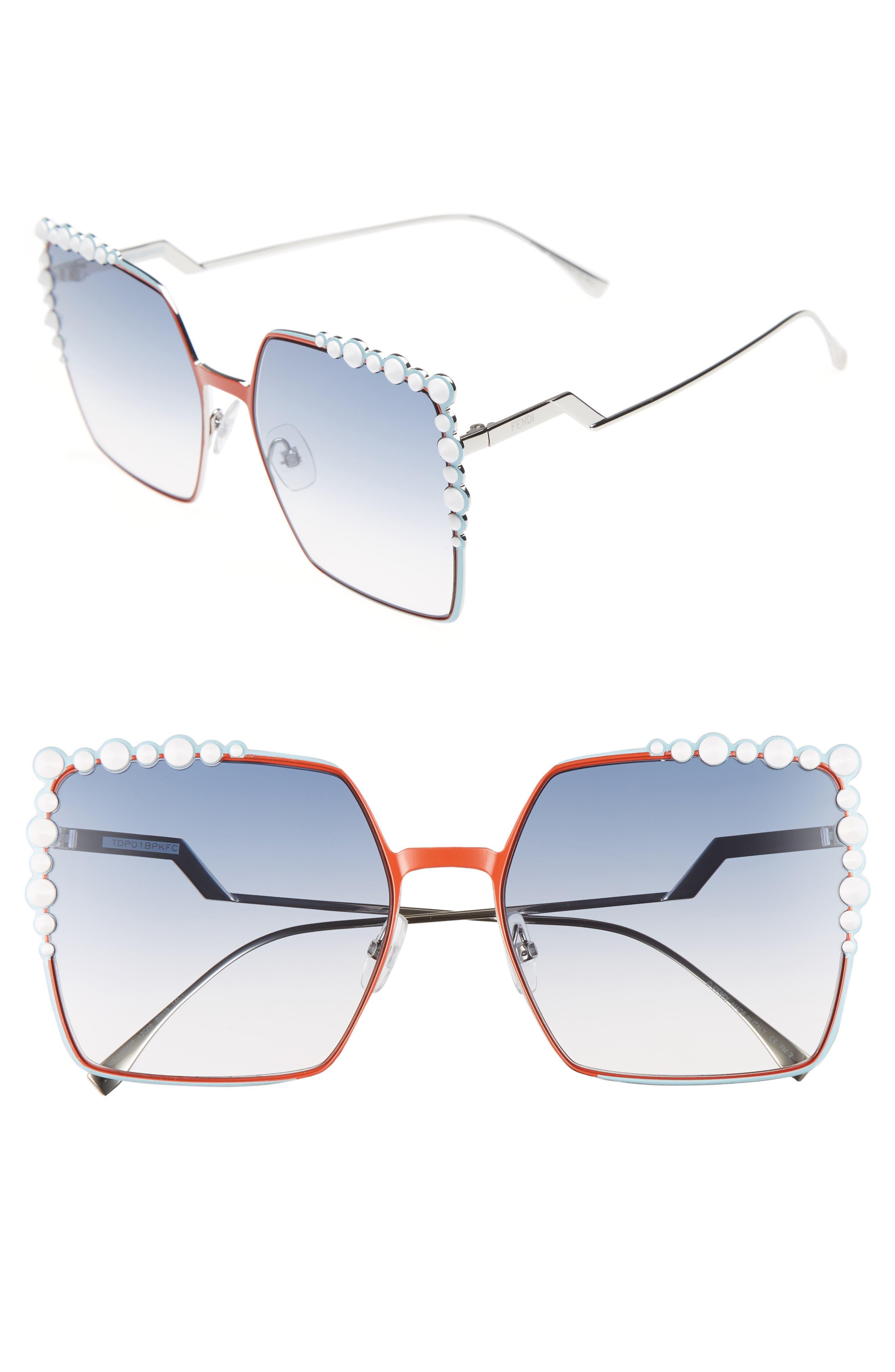 60mm Gradient Square Cat Eye Sunglasses,                         Main,                         color, Orange