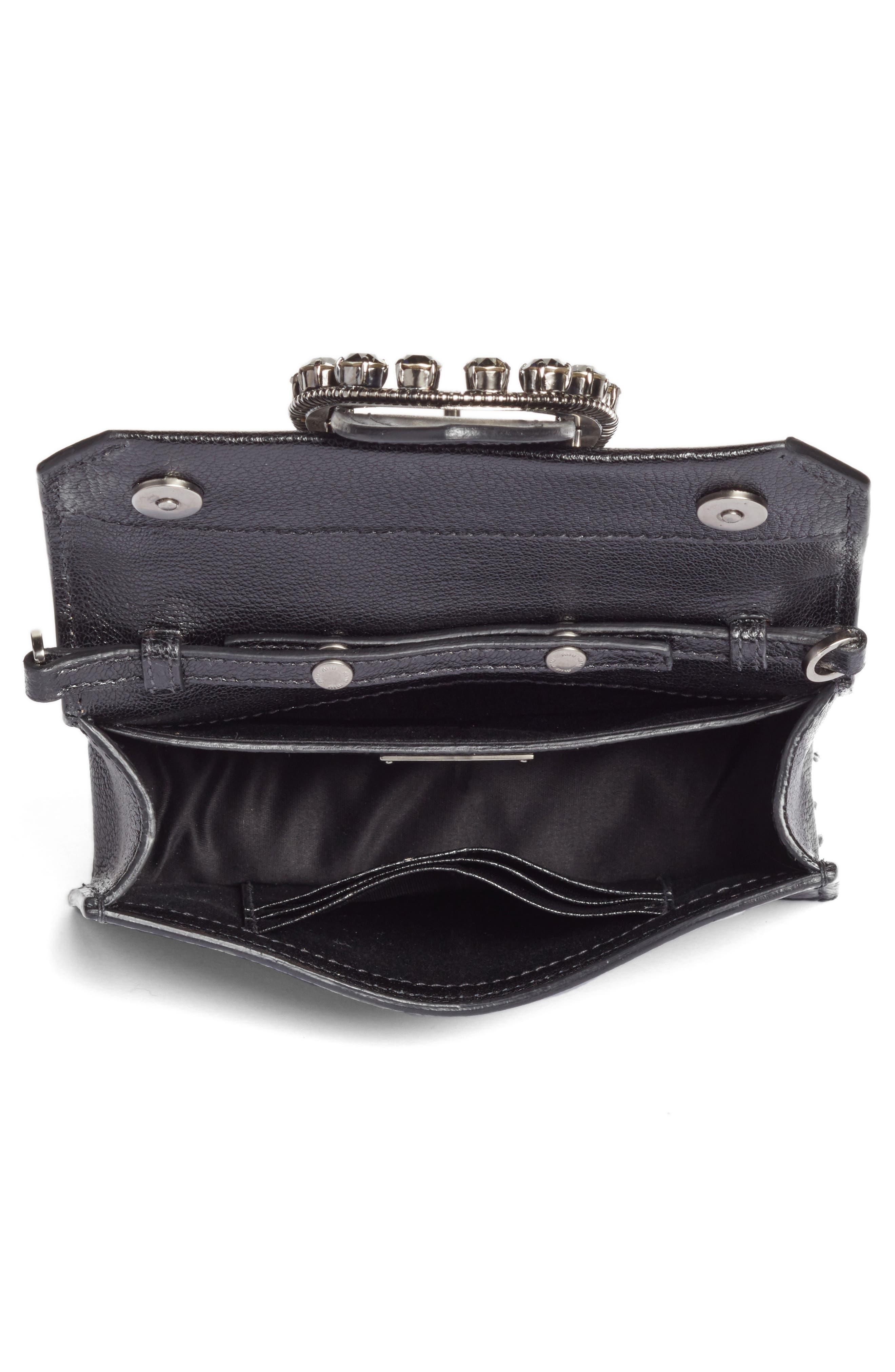 Lady Madras Crystal Embellished Leather Crossbody Bag,                             Alternate thumbnail 4, color,                             Nero 1