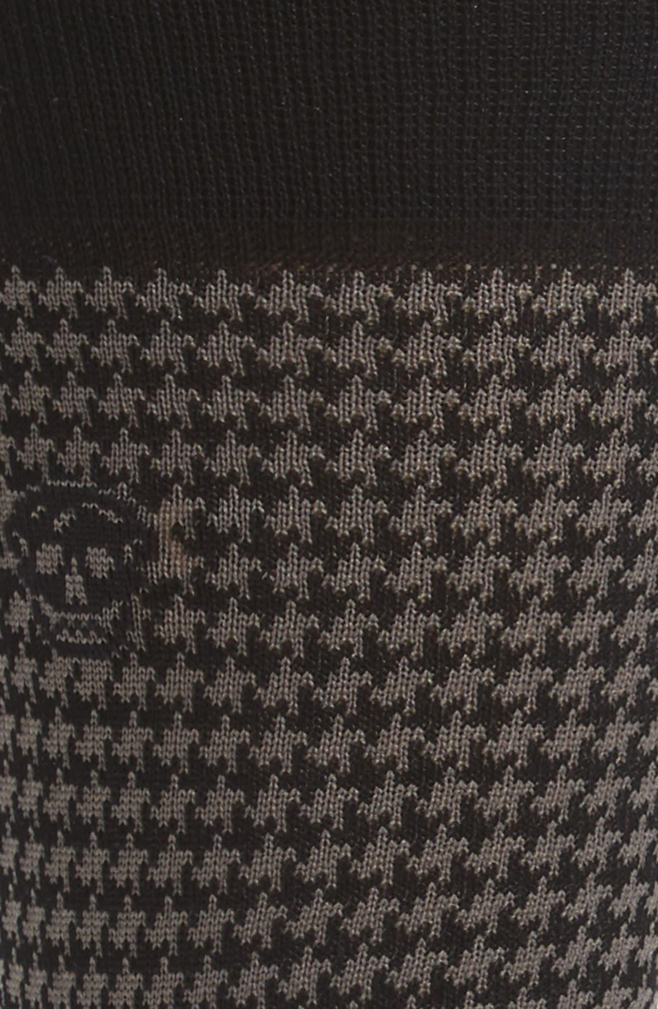 Cotton Blend Houndstooth Socks,                             Alternate thumbnail 2, color,                             Black/ Dark Grey