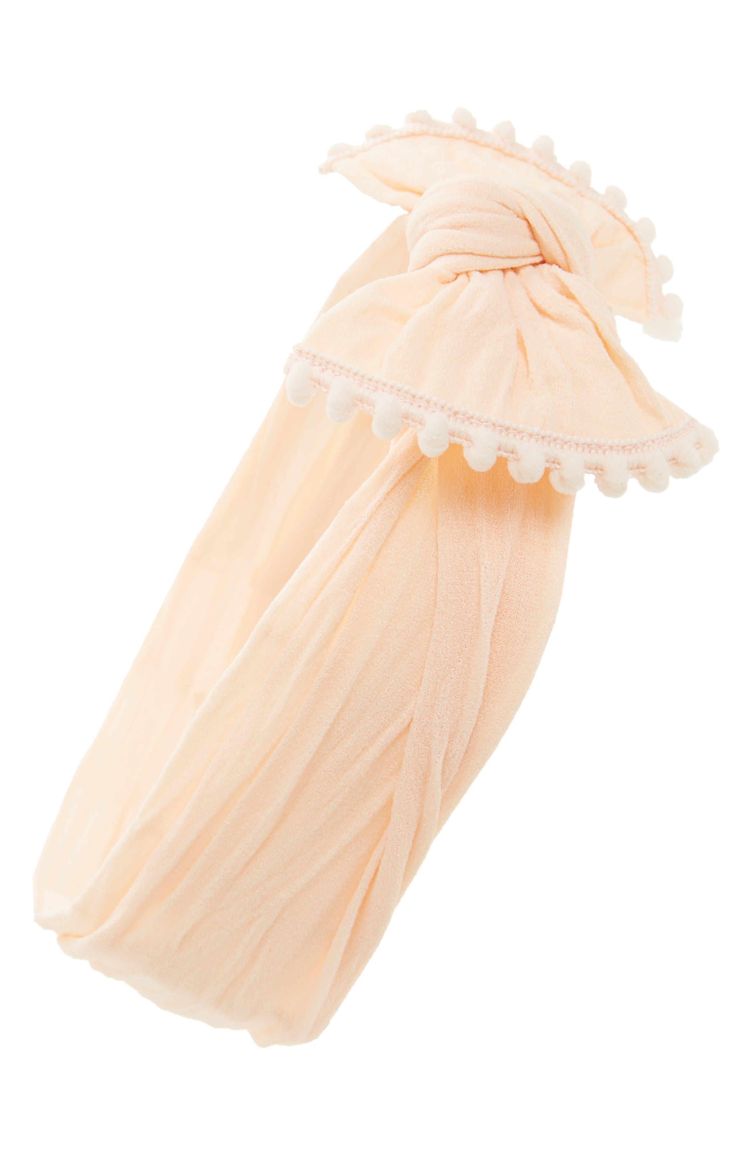 Alternate Image 1 Selected - Baby Bling Pompom Trim Headband (Baby Girls)