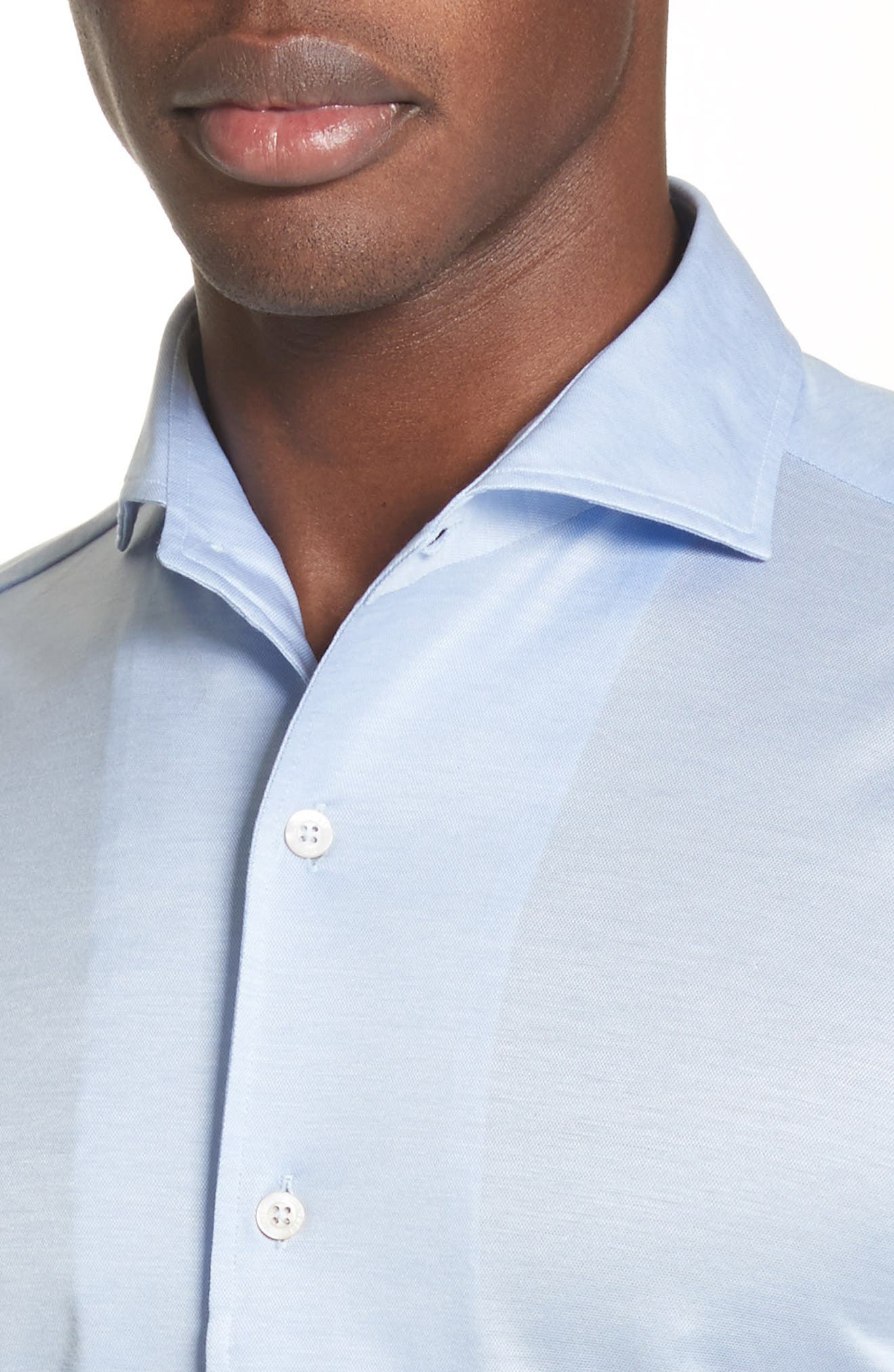 Slim Fit Solid Sport Shirt,                             Alternate thumbnail 4, color,                             Light Blue