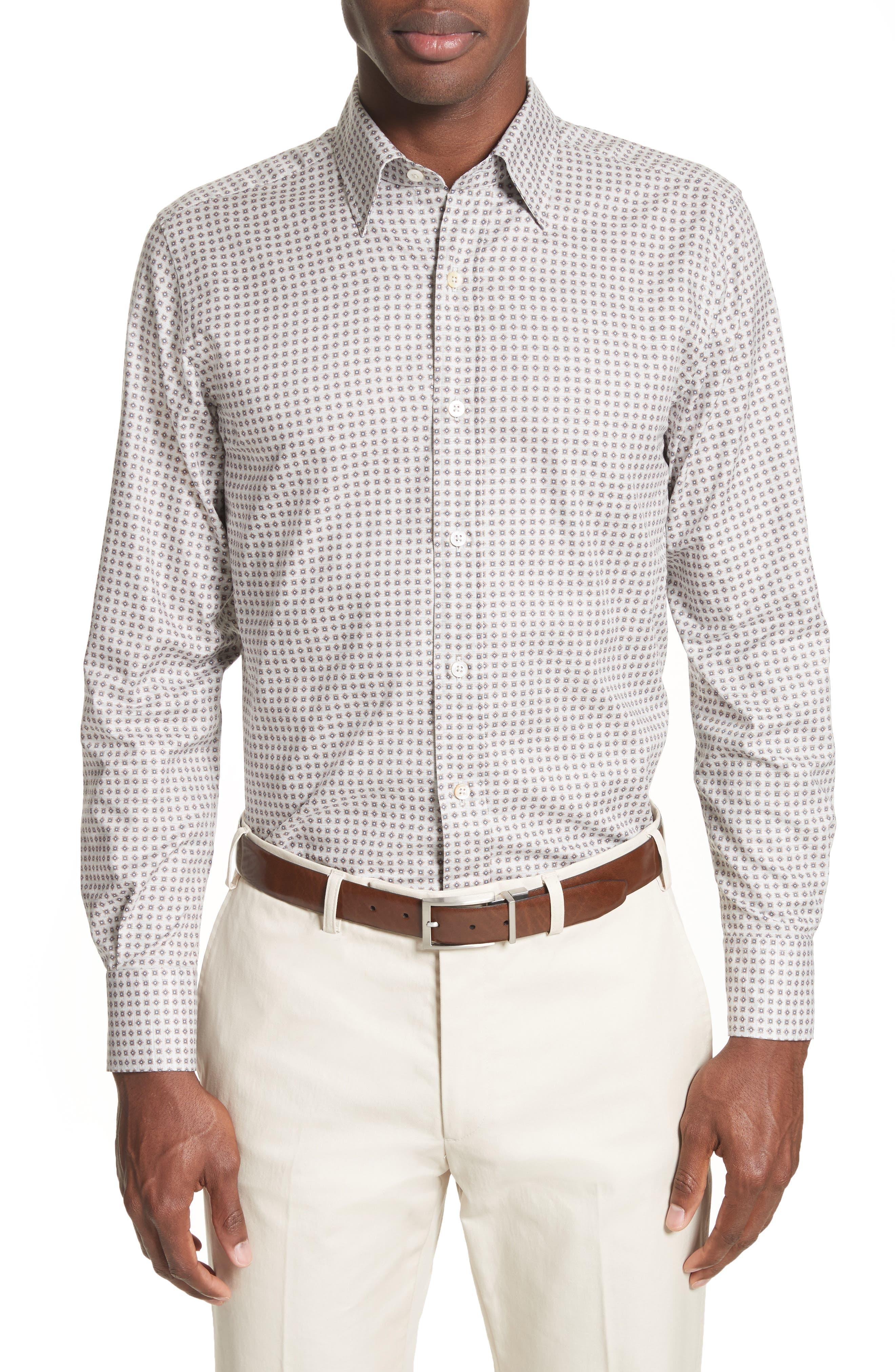 Geo Sport Shirt,                         Main,                         color, Light Beige