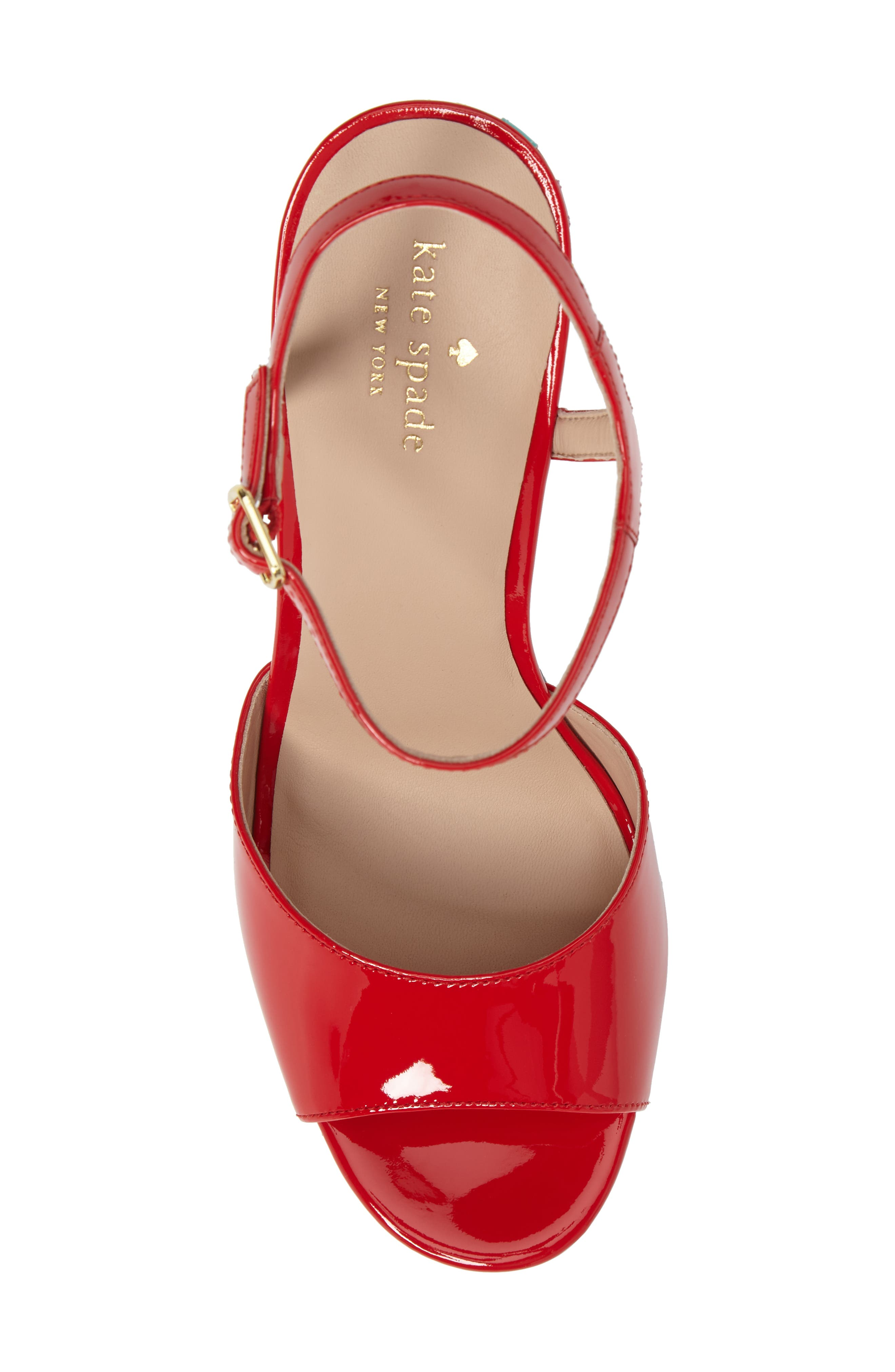 dora wedge sandal,                             Alternate thumbnail 5, color,                             Maraschino Red Patent