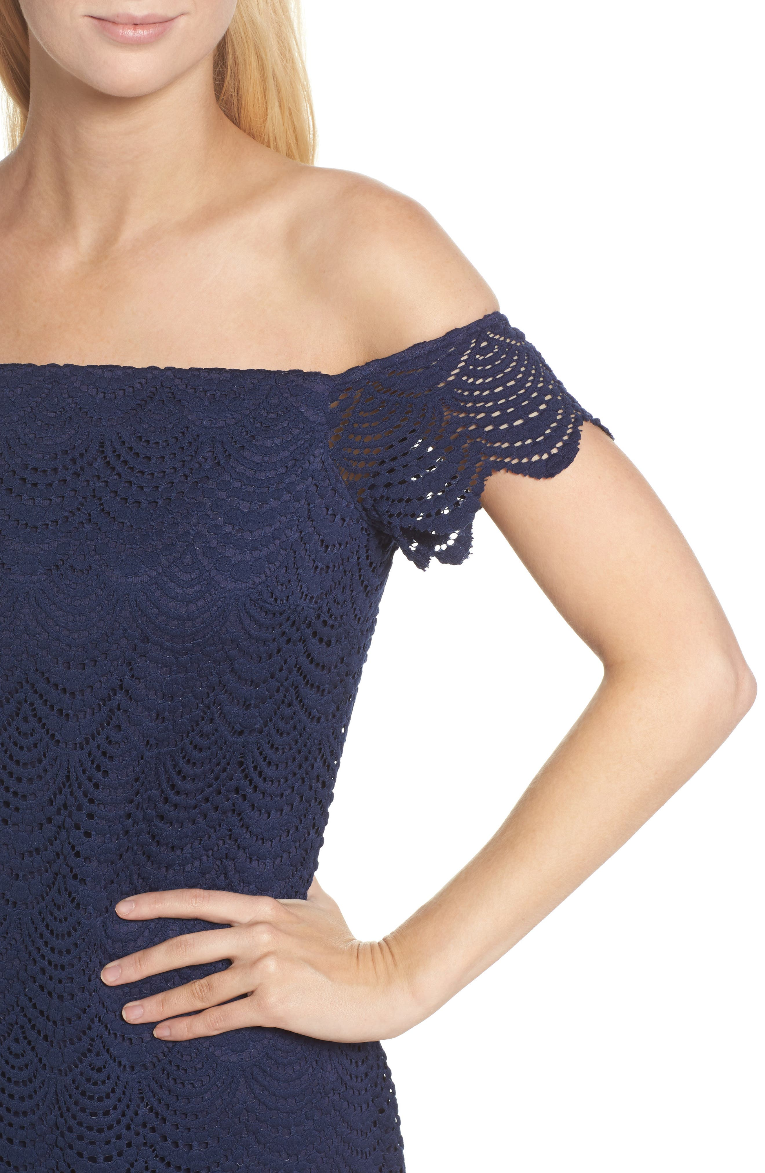 Jade Lace Off the Shoulder Dress,                             Alternate thumbnail 4, color,                             True Navy