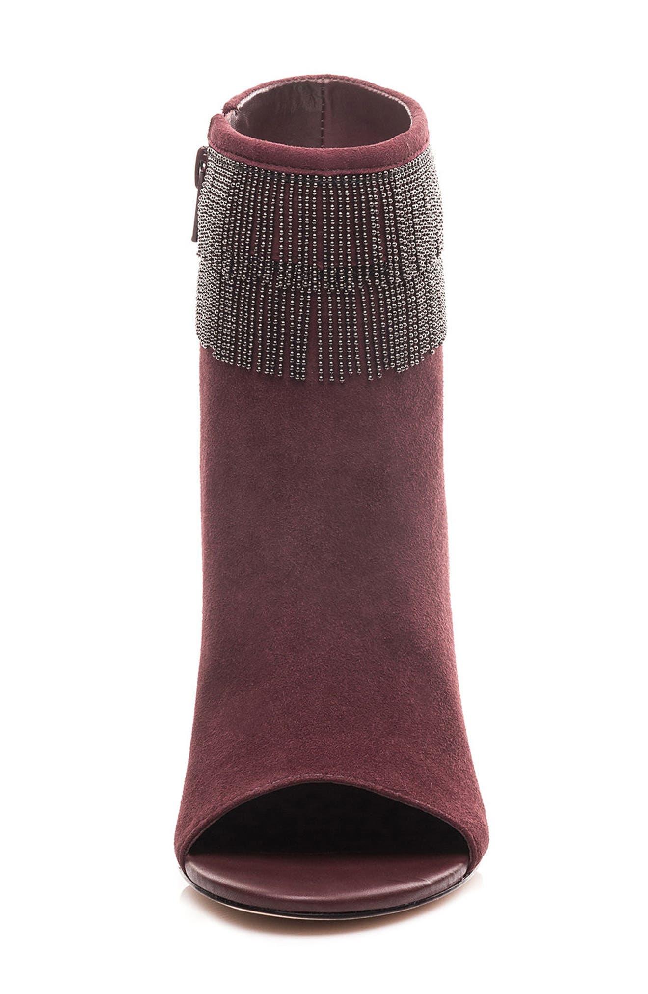 Honour Fringe Peep Toe Bootie,                             Alternate thumbnail 4, color,                             Bordeaux Leather