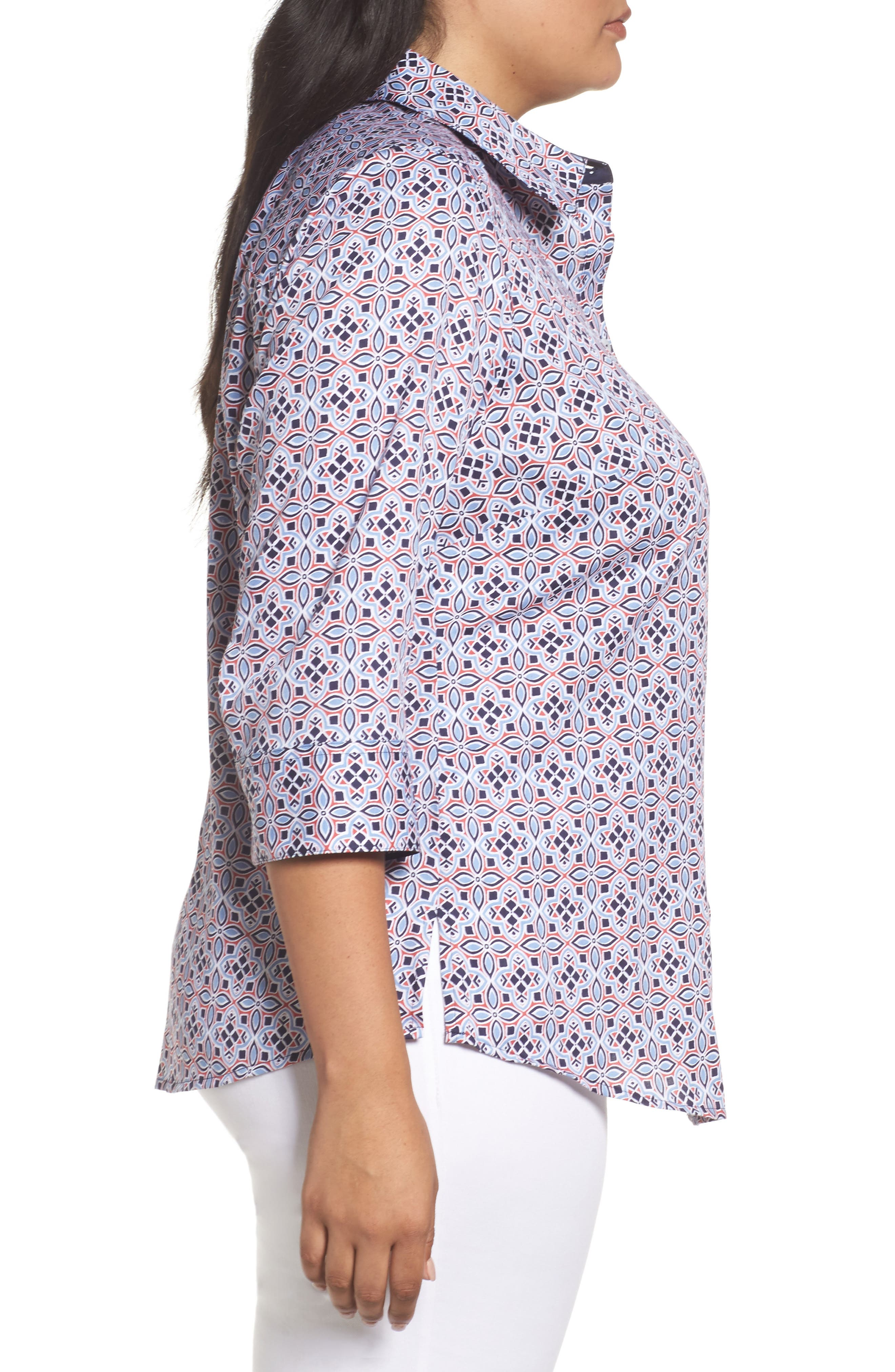 Alternate Image 3  - Foxcroft Ava Non-Iron Tile Print Cotton Shirt (Plus Size)