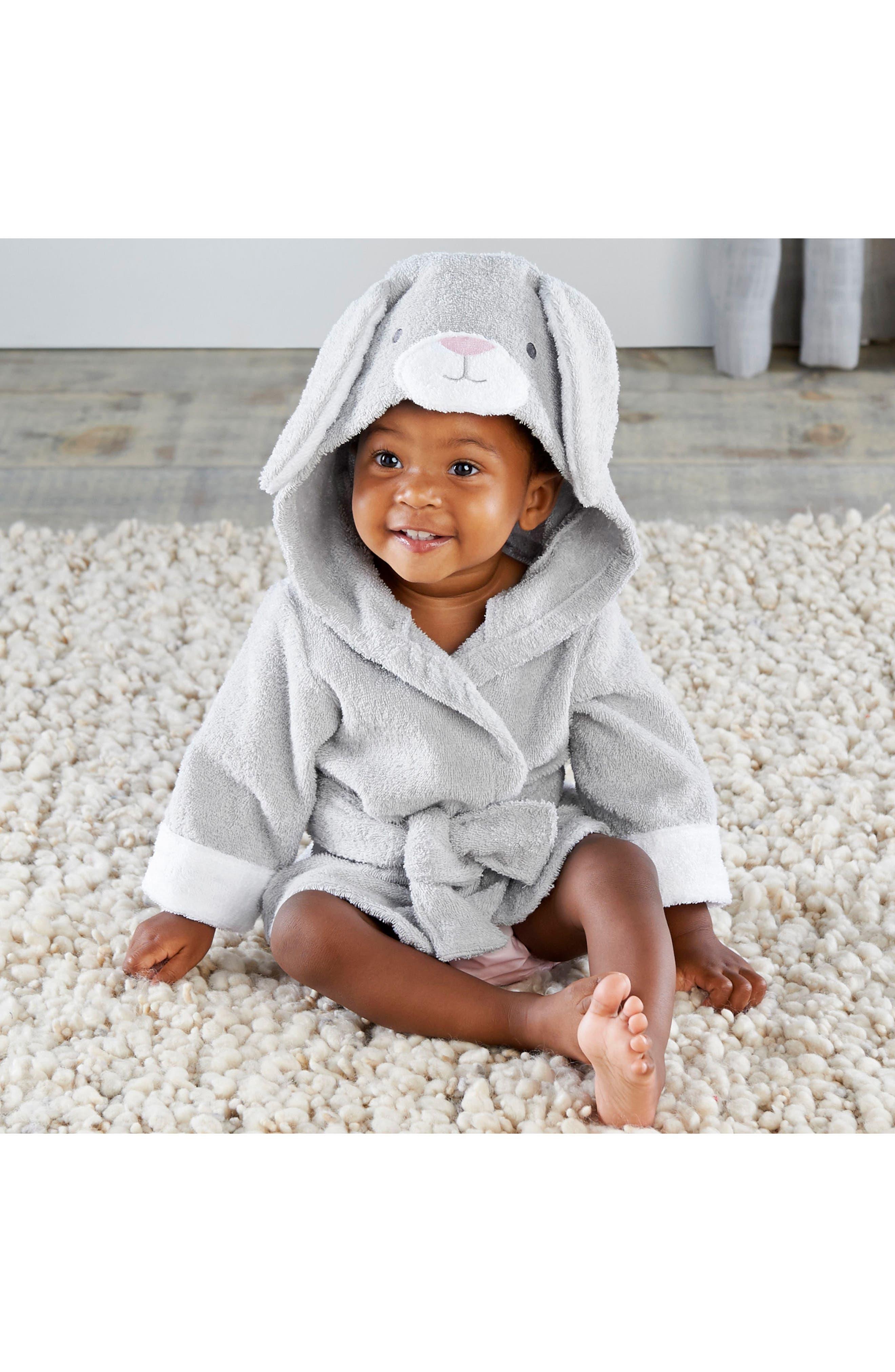 Alternate Image 2  - Baby Aspen Bunnie Hooded Robe & Stuffed Animal