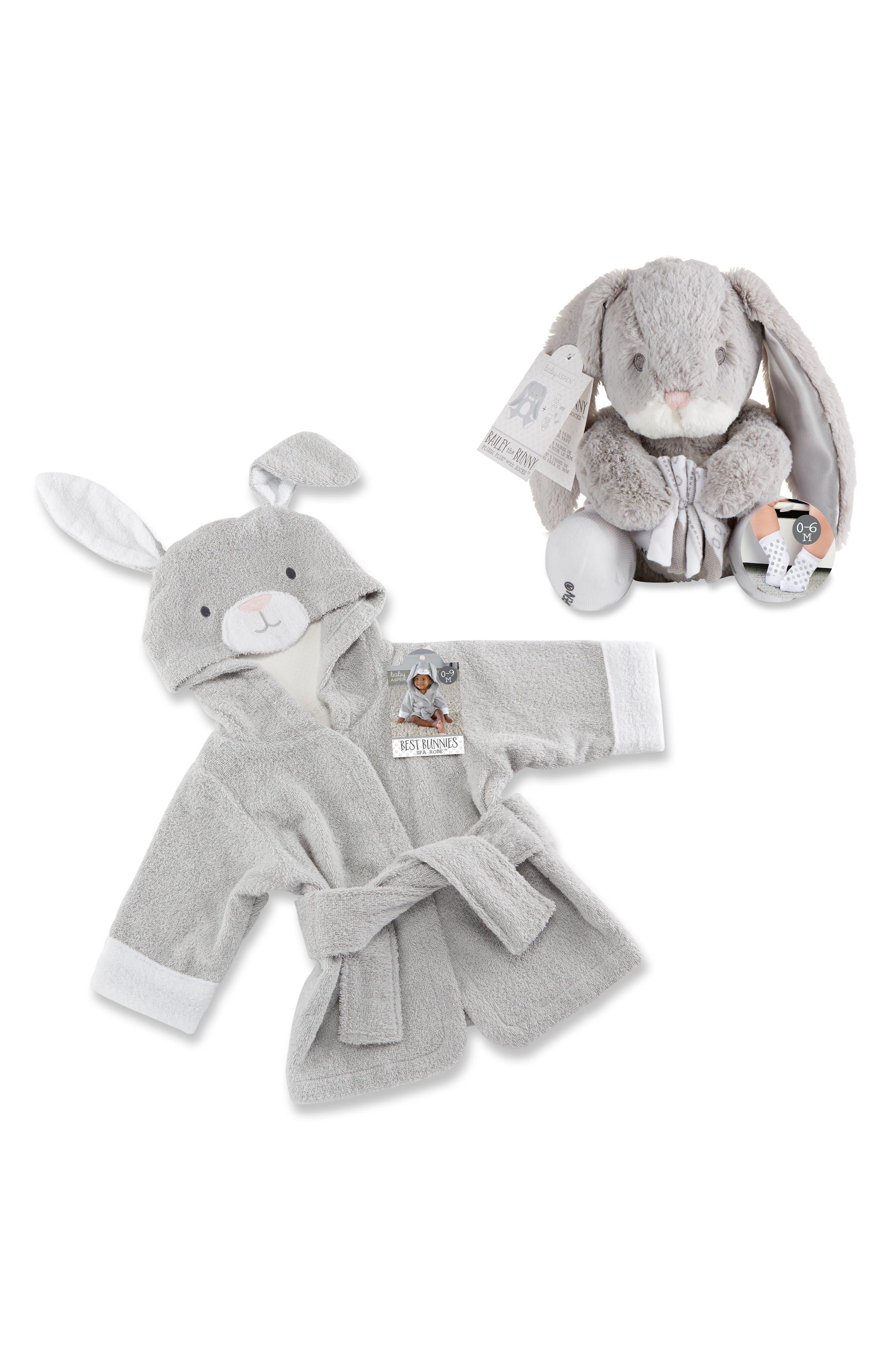 Main Image - Baby Aspen Bunnie Hooded Robe & Stuffed Animal