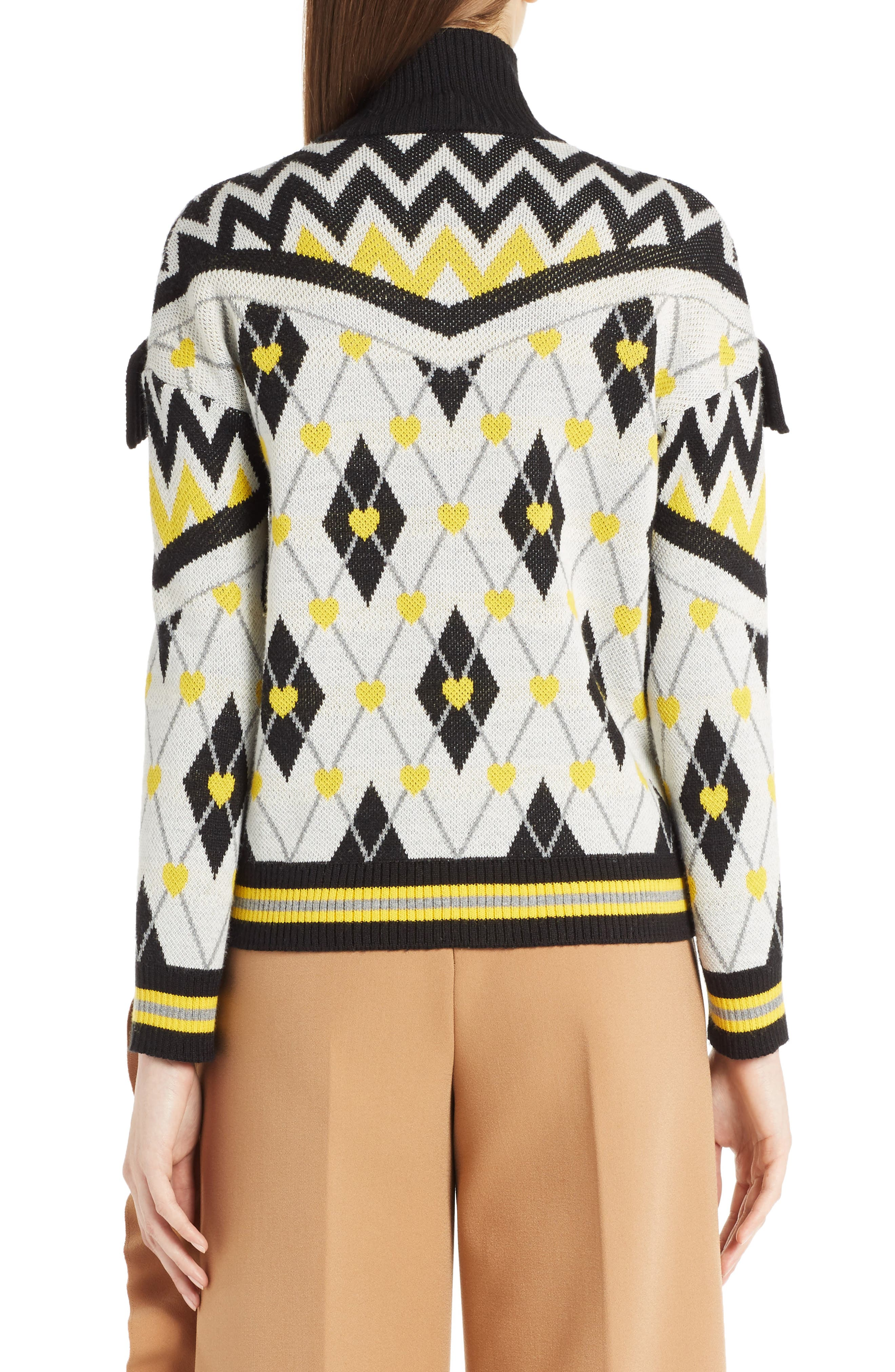 Argyle Heart Turtleneck Sweater,                             Alternate thumbnail 3, color,                             White