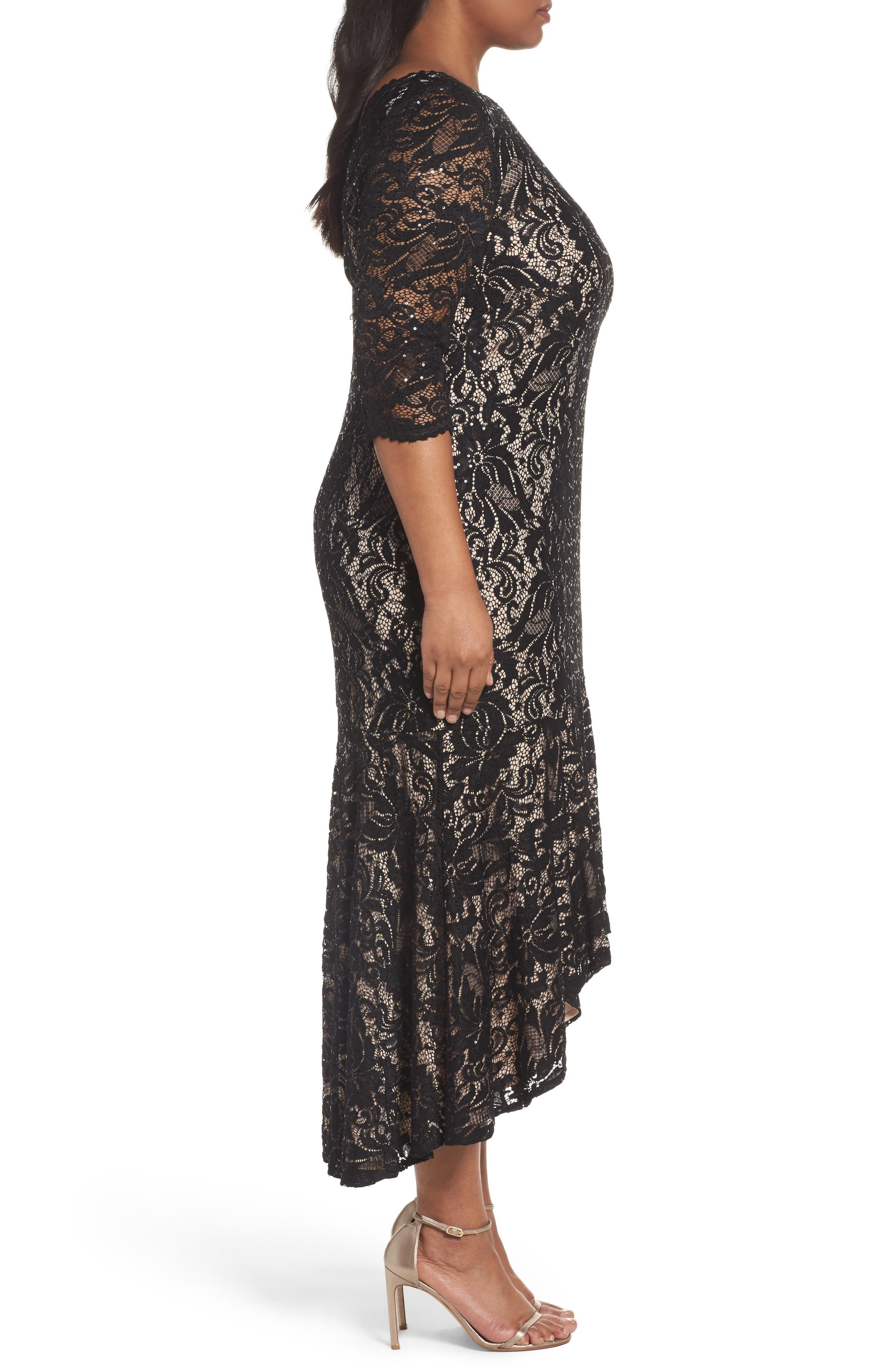 Alternate Image 3  - Alex Evenings High/Low Lace Mermaid Dress (Plus Size)