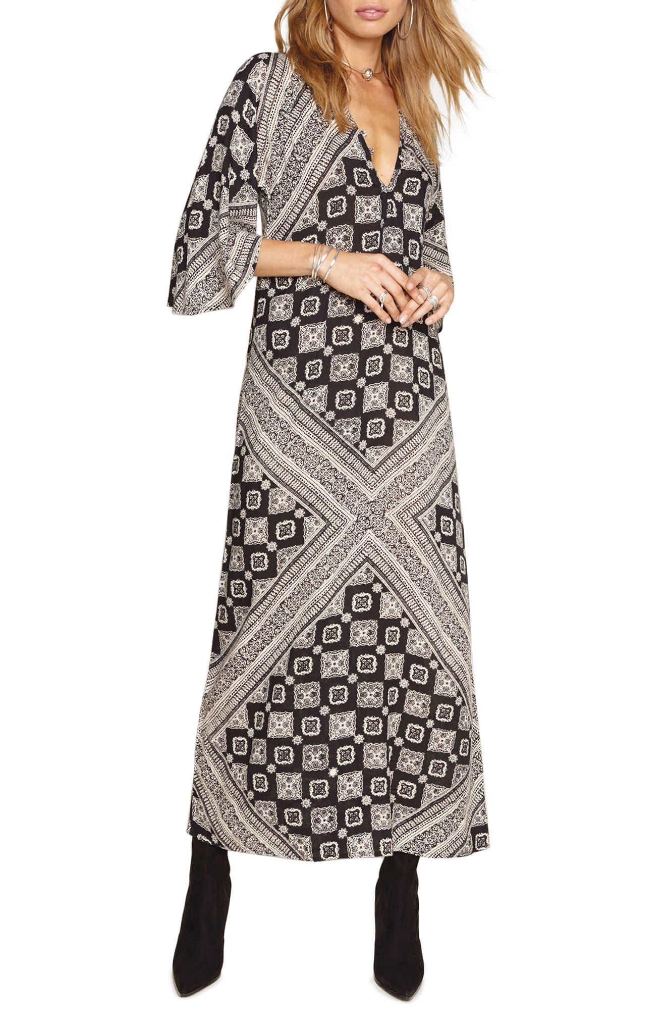 Scorpio Print Maxi Dress,                         Main,                         color, Black