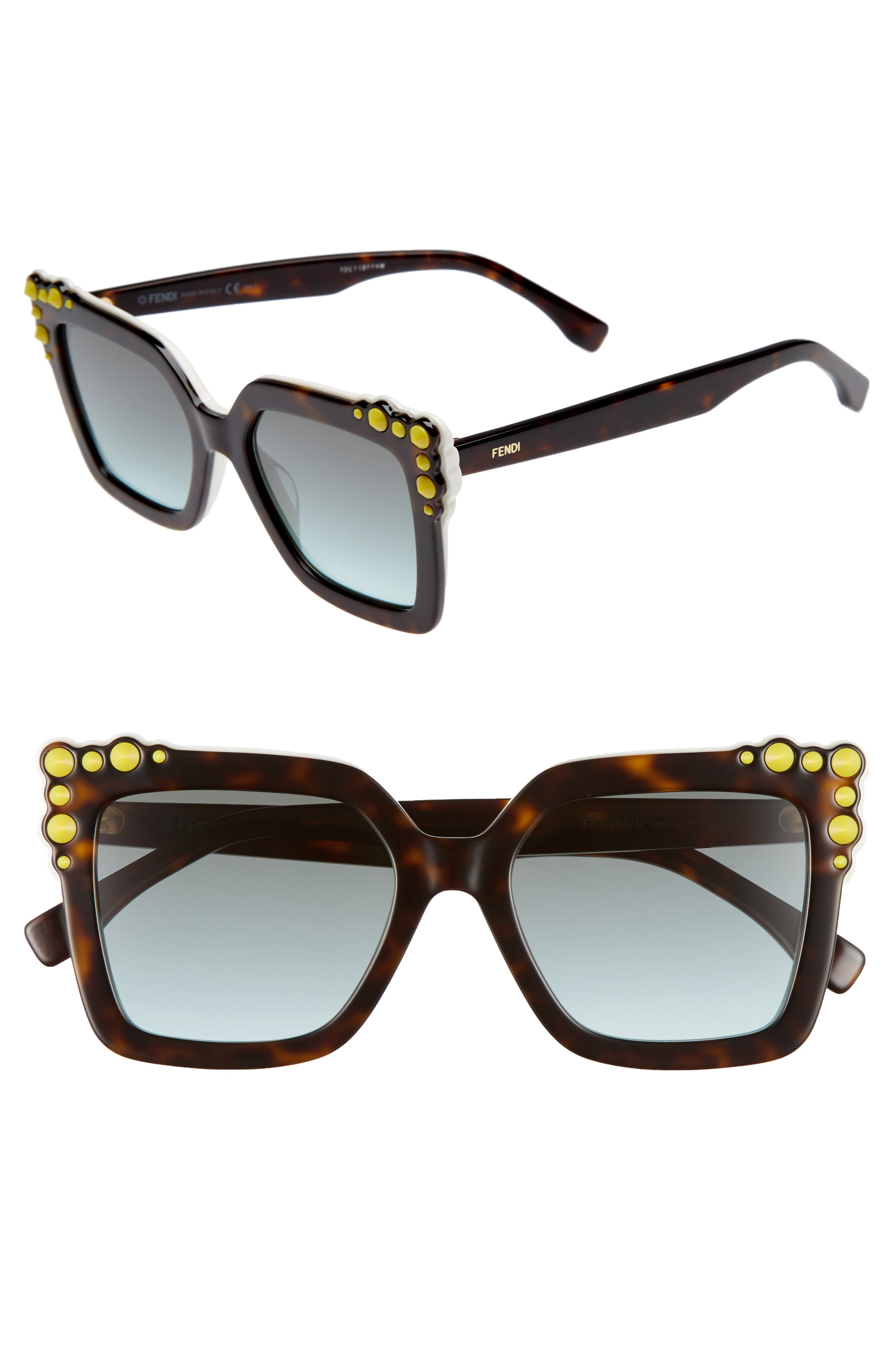 52mm Gradient Cat Eye Sunglasses,                         Main,                         color, Havana/ White