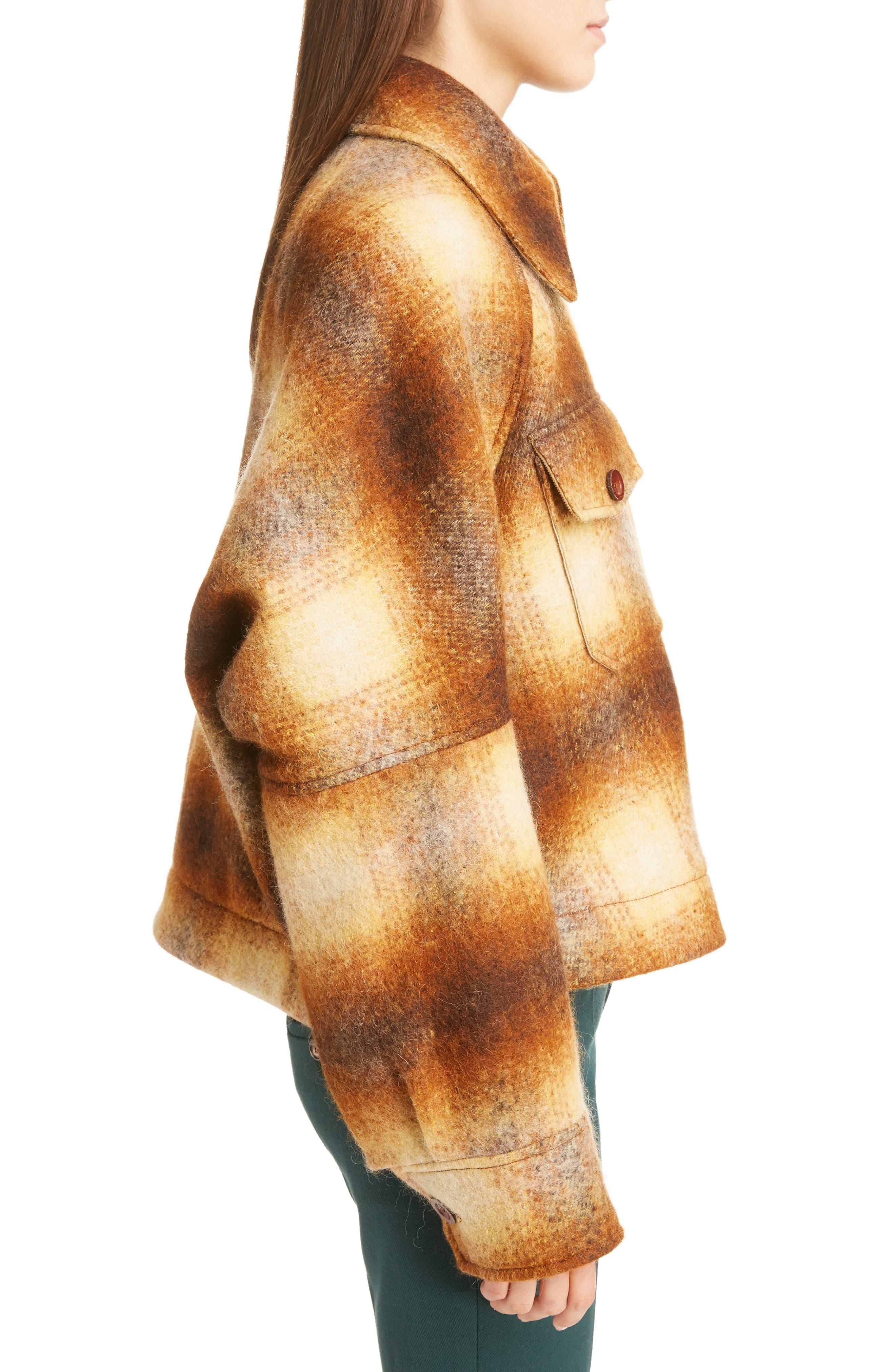 Mohair Blend Check Lumber Jacket,                             Alternate thumbnail 5, color,                             Multicolor Brown