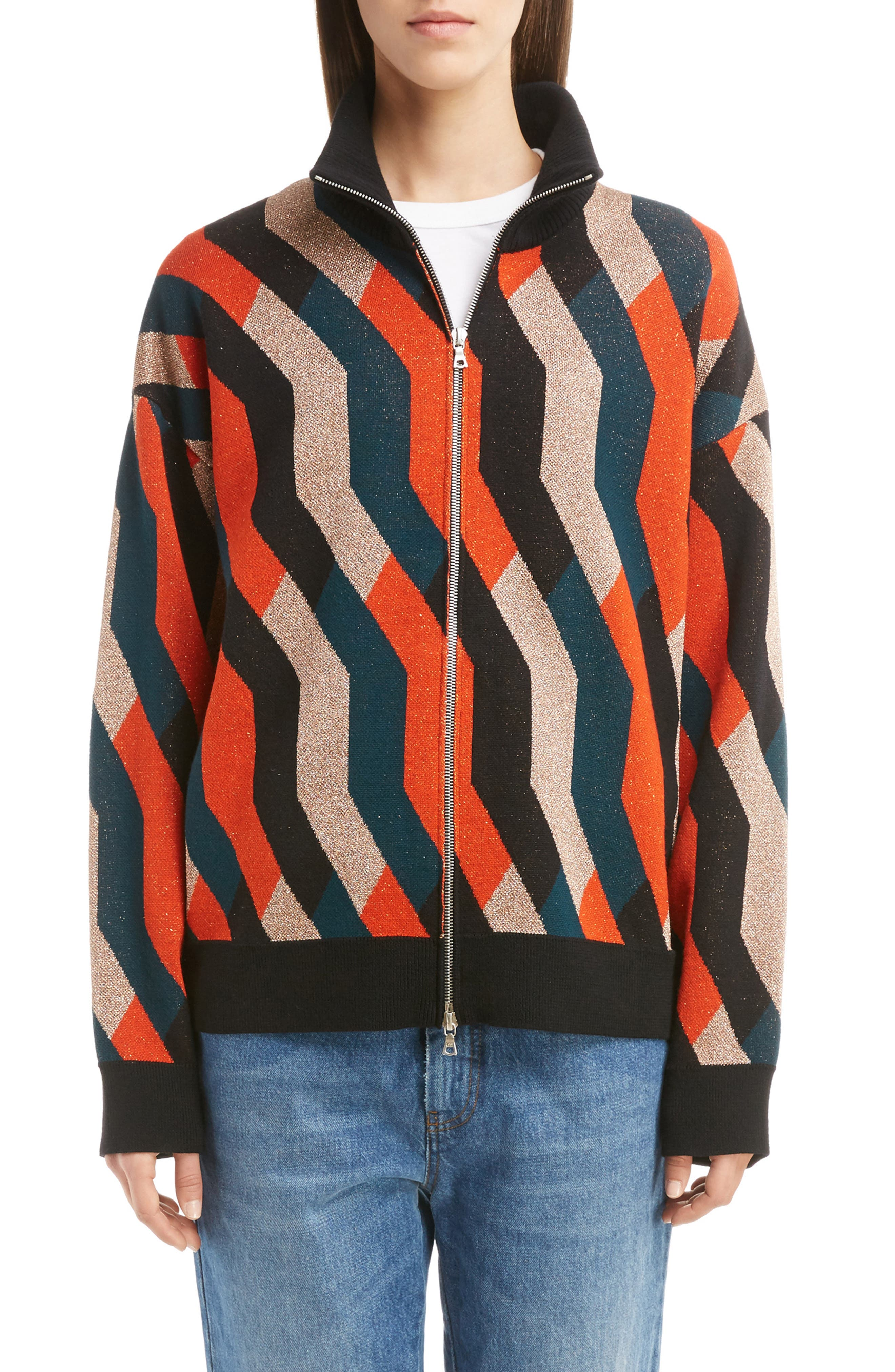 Graphic Knit Merino Wool Cardigan,                             Main thumbnail 1, color,                             Skin