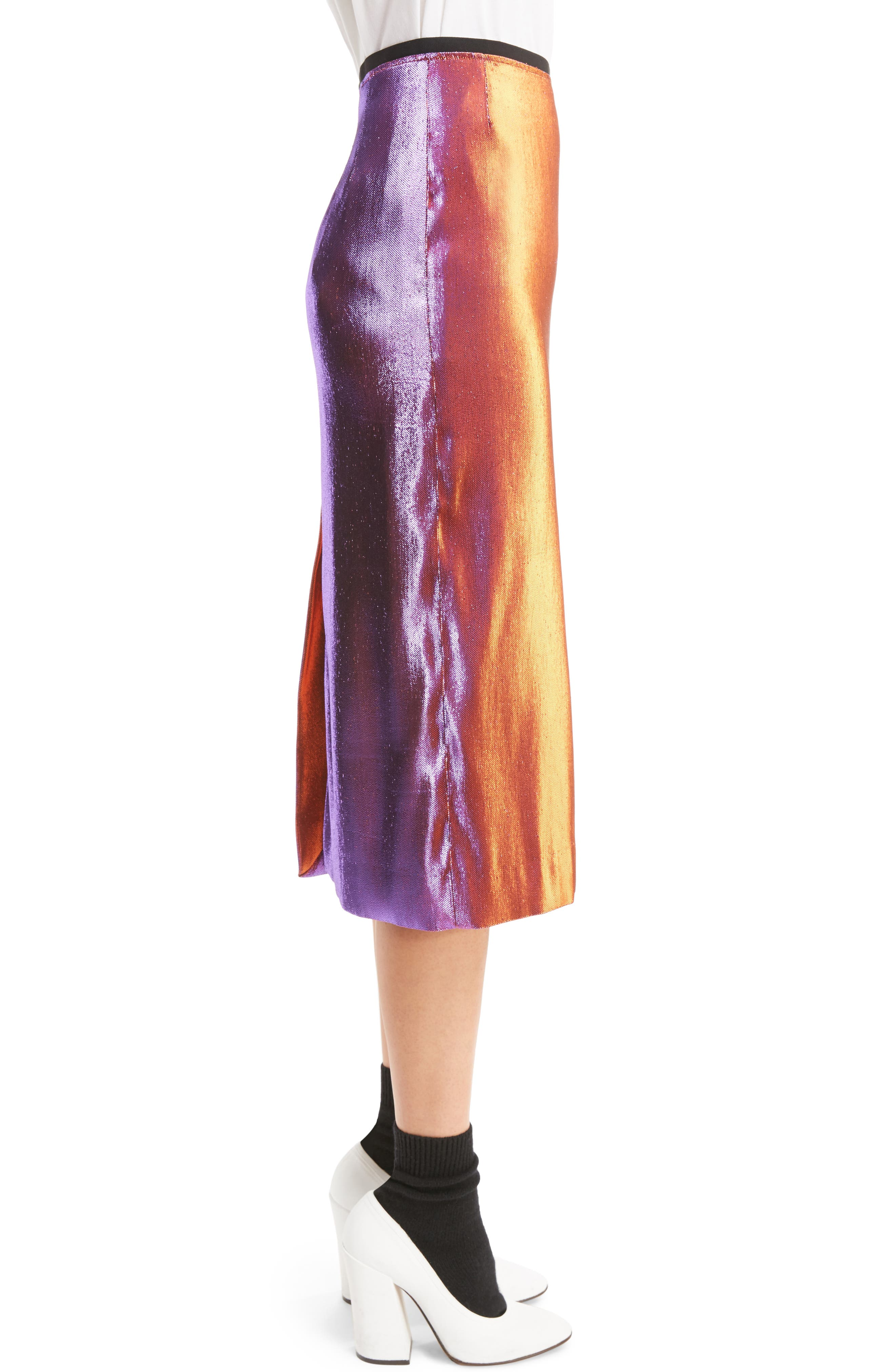 Two-Tone Lamé Pencil Skirt,                             Alternate thumbnail 4, color,                             Pink