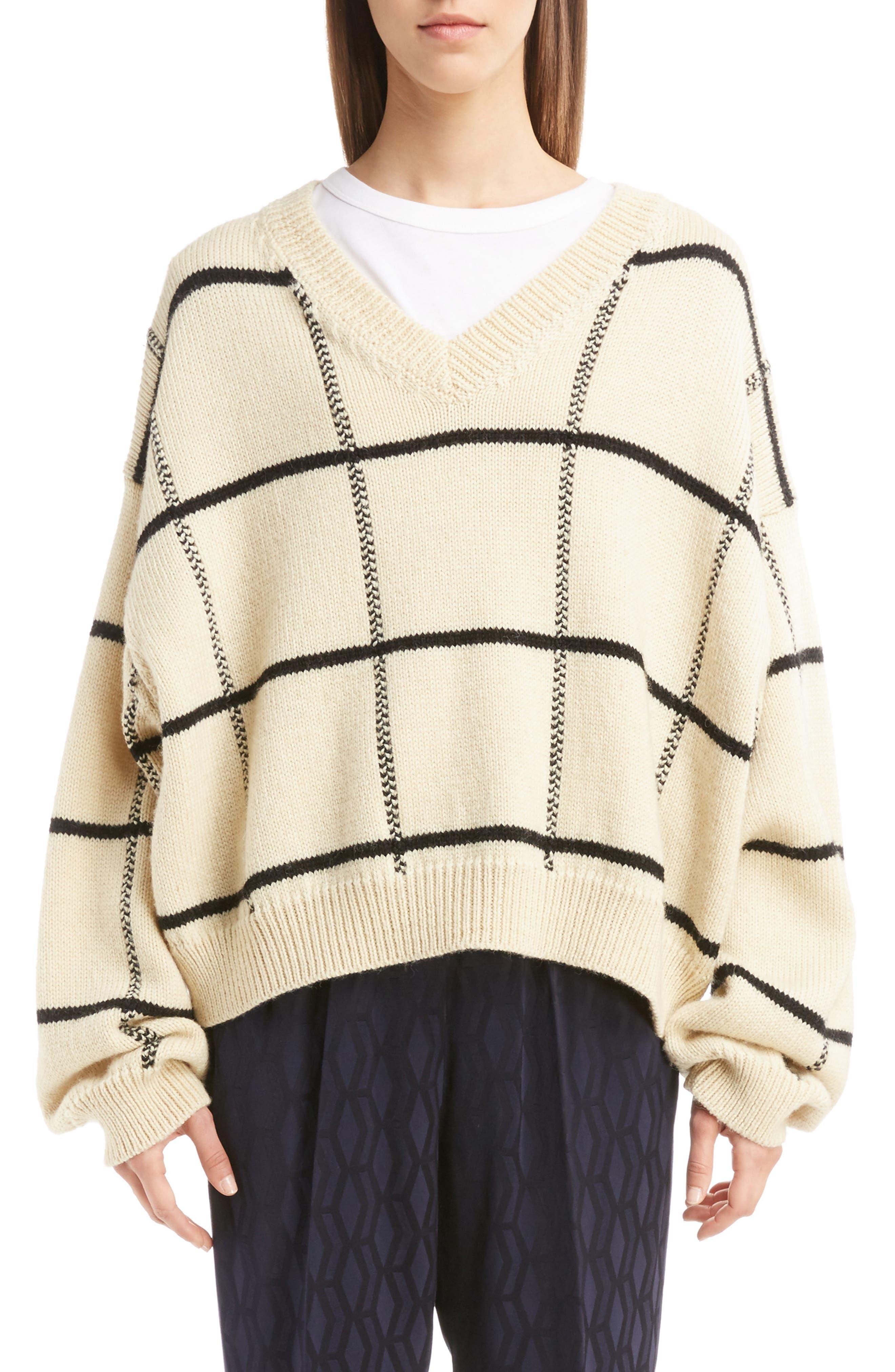 Dries Van Noten Windowpane Knit Wool Sweater