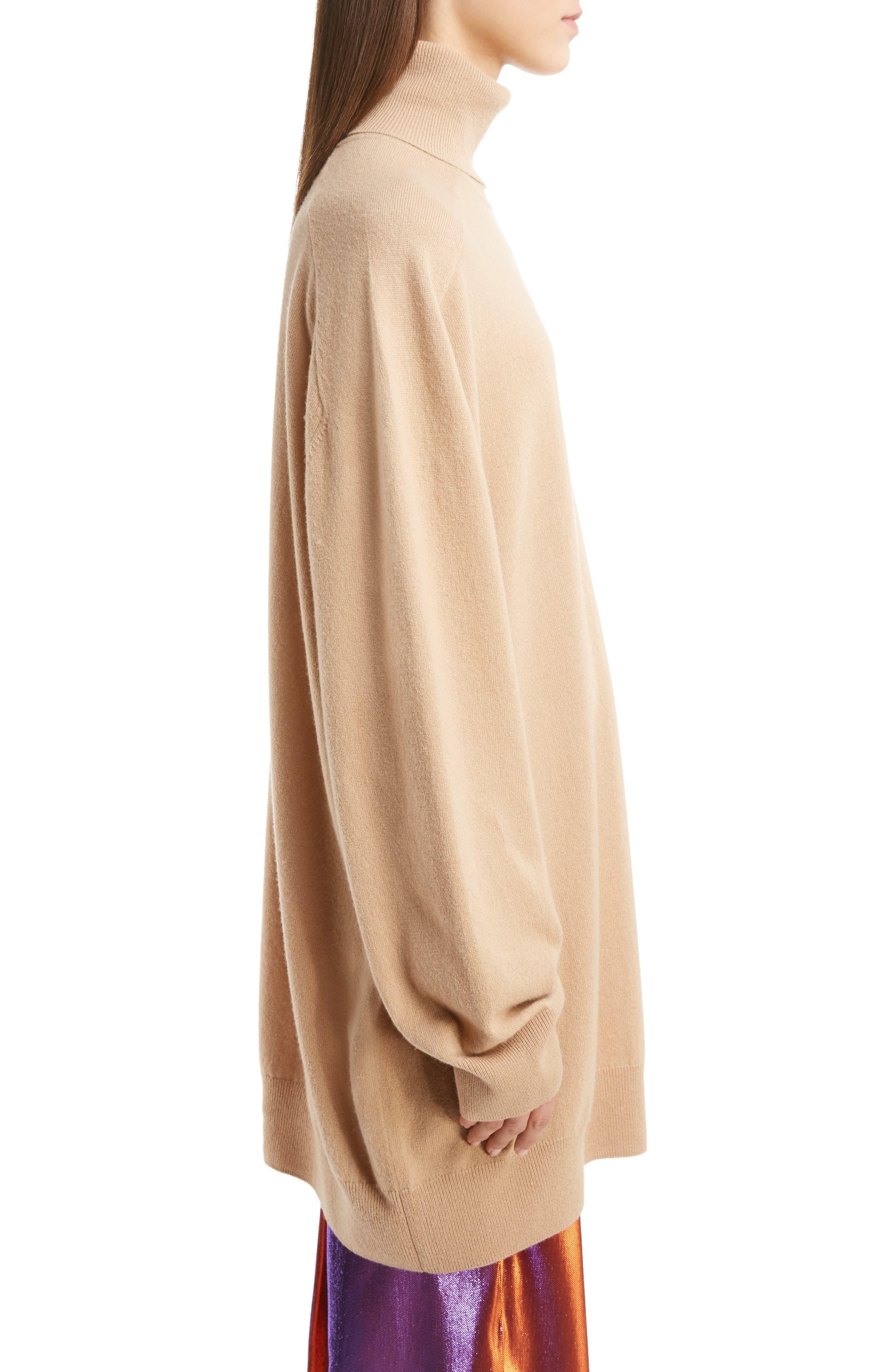Oversized Cashmere Turtleneck Sweater,                             Alternate thumbnail 4, color,                             Camel