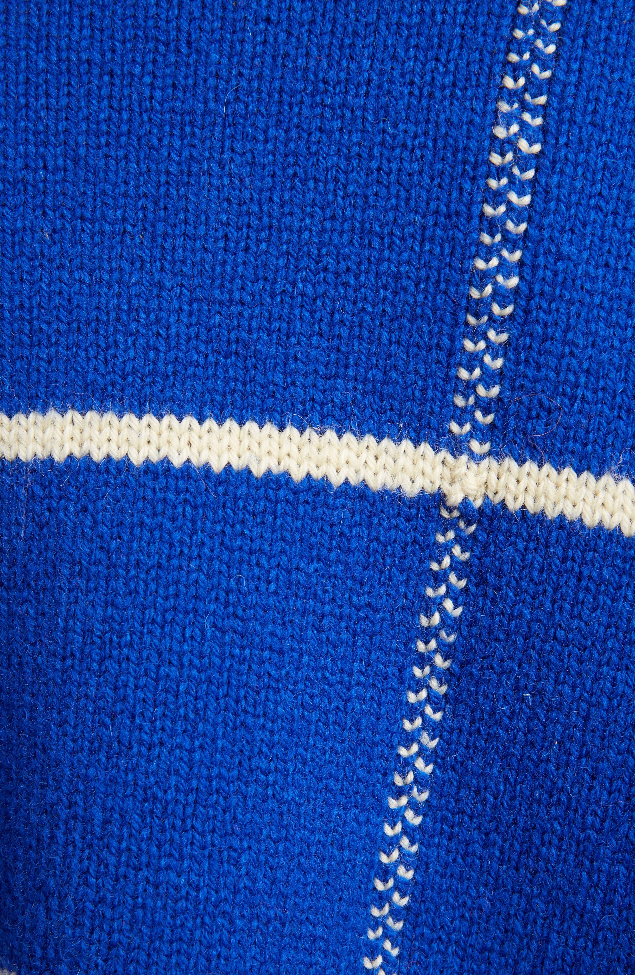 Windowpane Knit Wool Sweater,                             Alternate thumbnail 3, color,                             King Blue