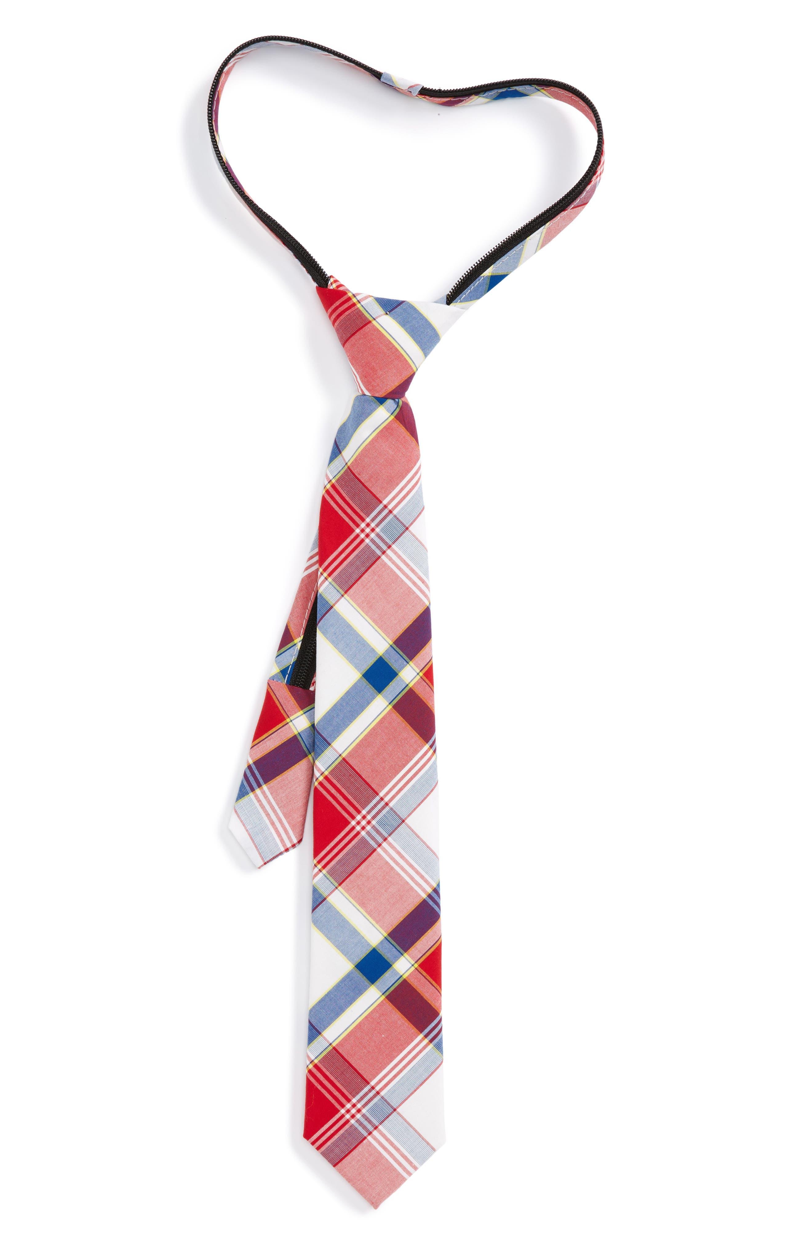 Plaid Cotton Zip Tie,                         Main,                         color, Red- Navy Plaid
