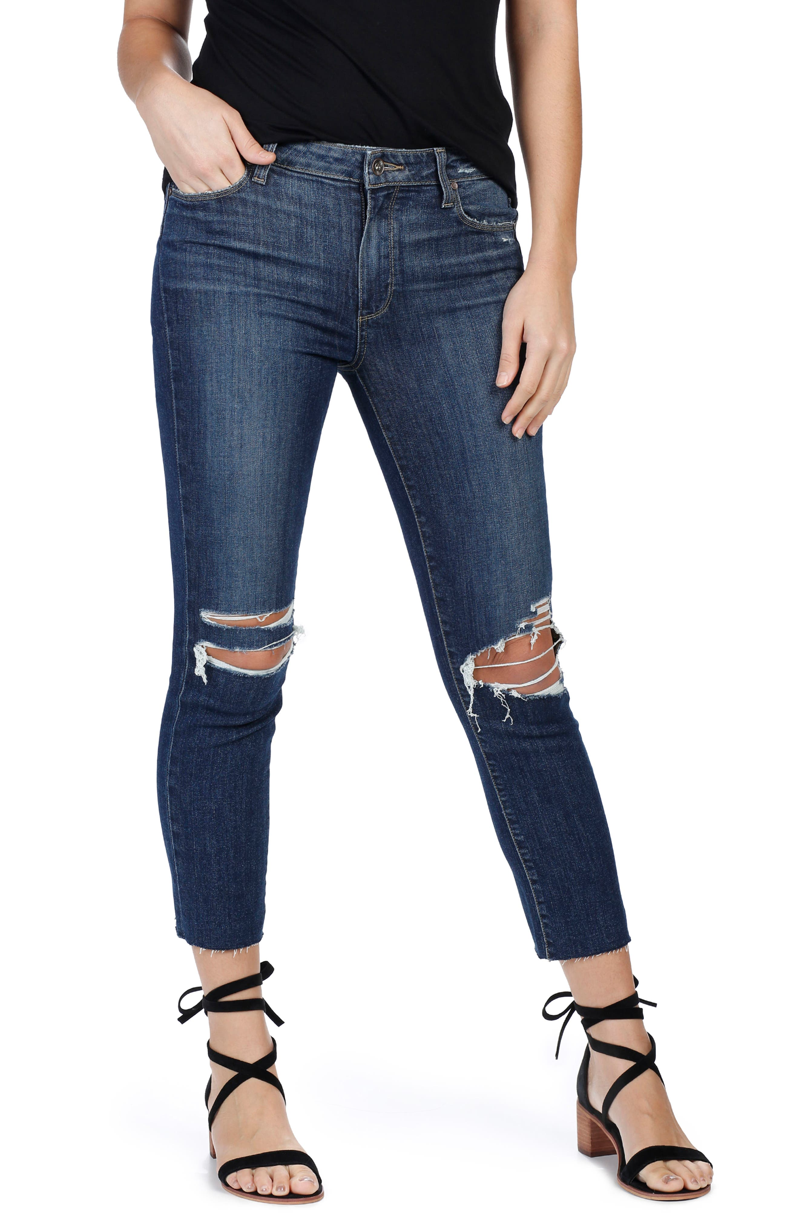 PAIGE Jacqueline High Rise Ripped Straight Leg Jeans